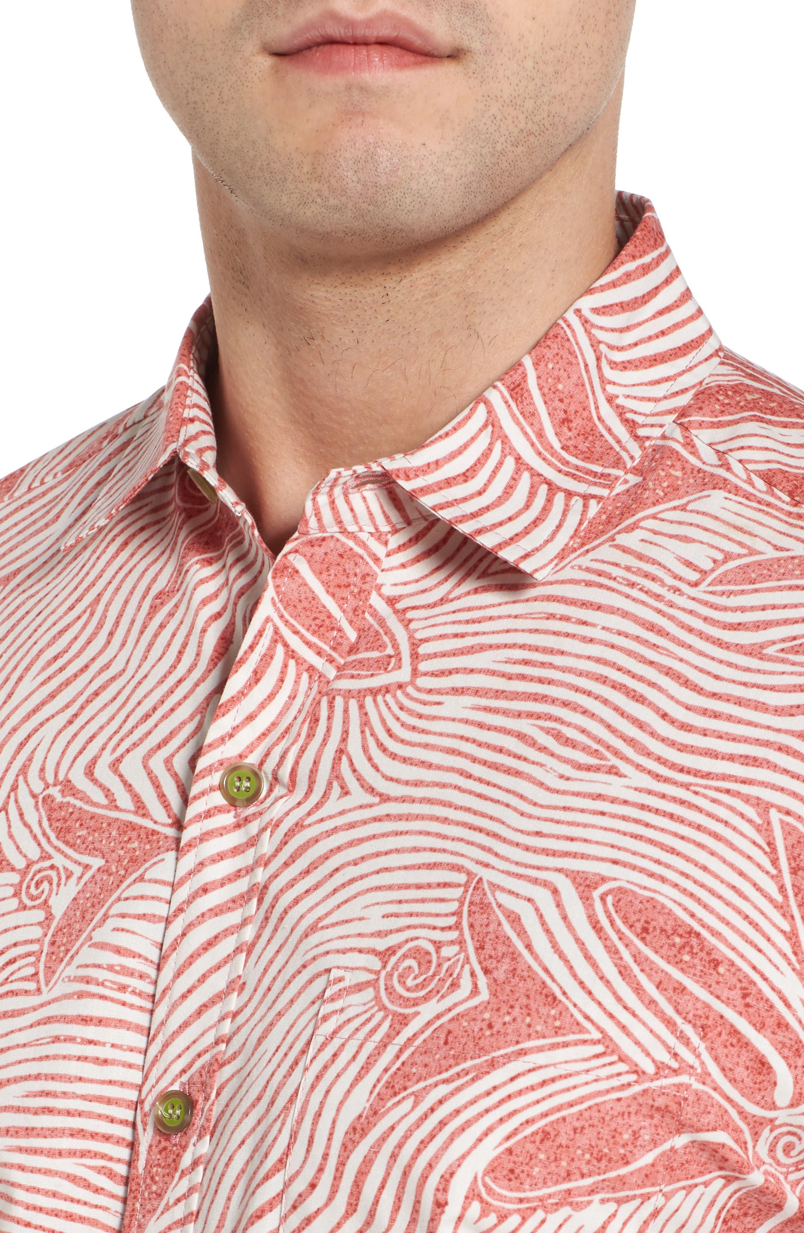 Coral Star Trim Fit Print Sport Shirt,                             Alternate thumbnail 4, color,                             Red