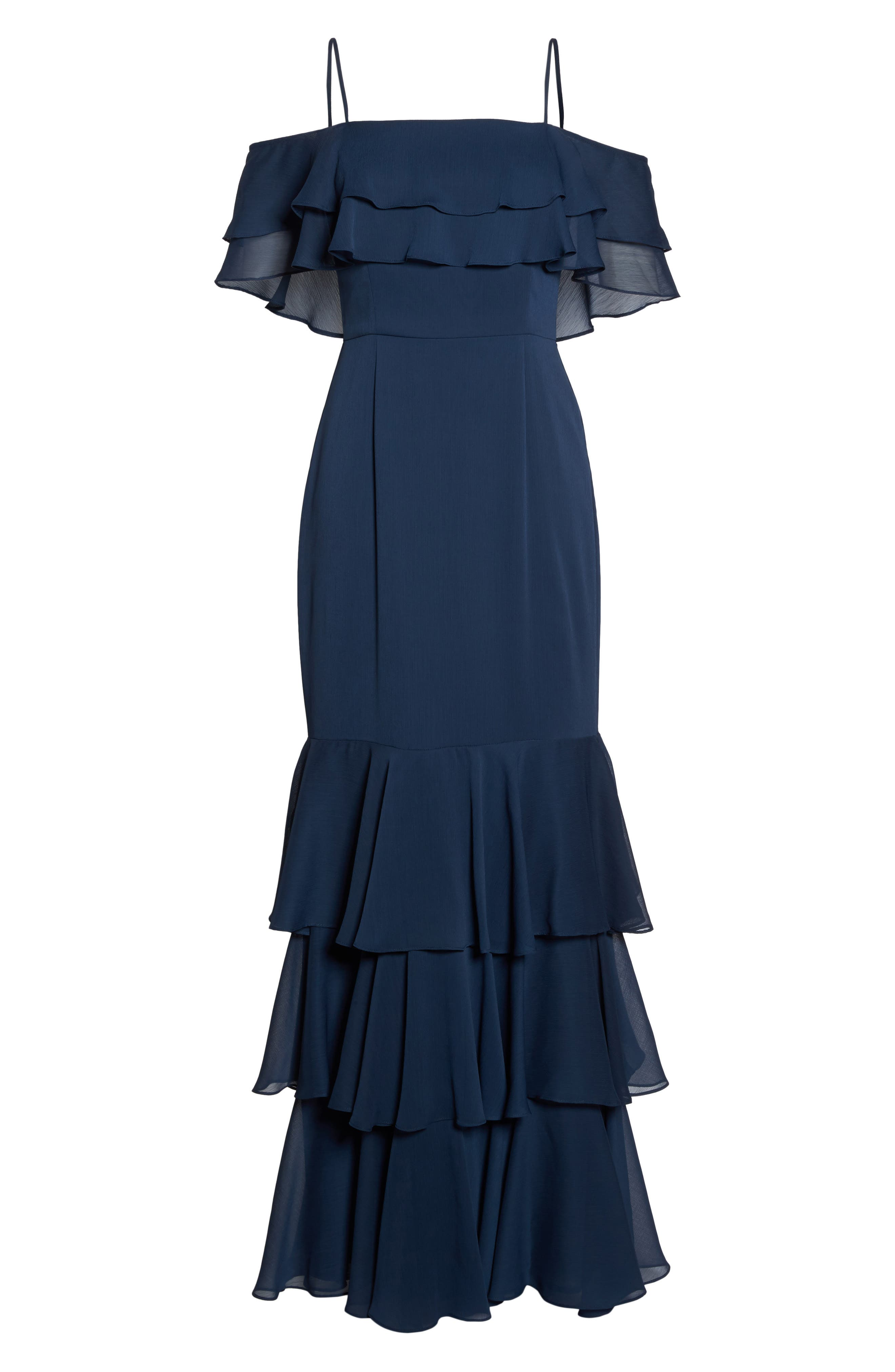 Lauren Cold Shoulder Tiered Gown,                             Alternate thumbnail 6, color,                             Navy