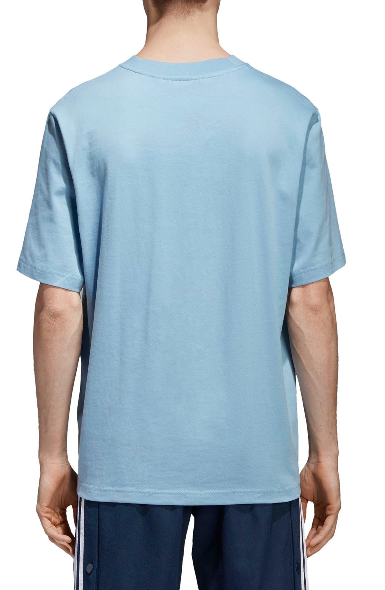 Oversized Trefoil Logo T-Shirt,                             Alternate thumbnail 2, color,                             Ash Blue