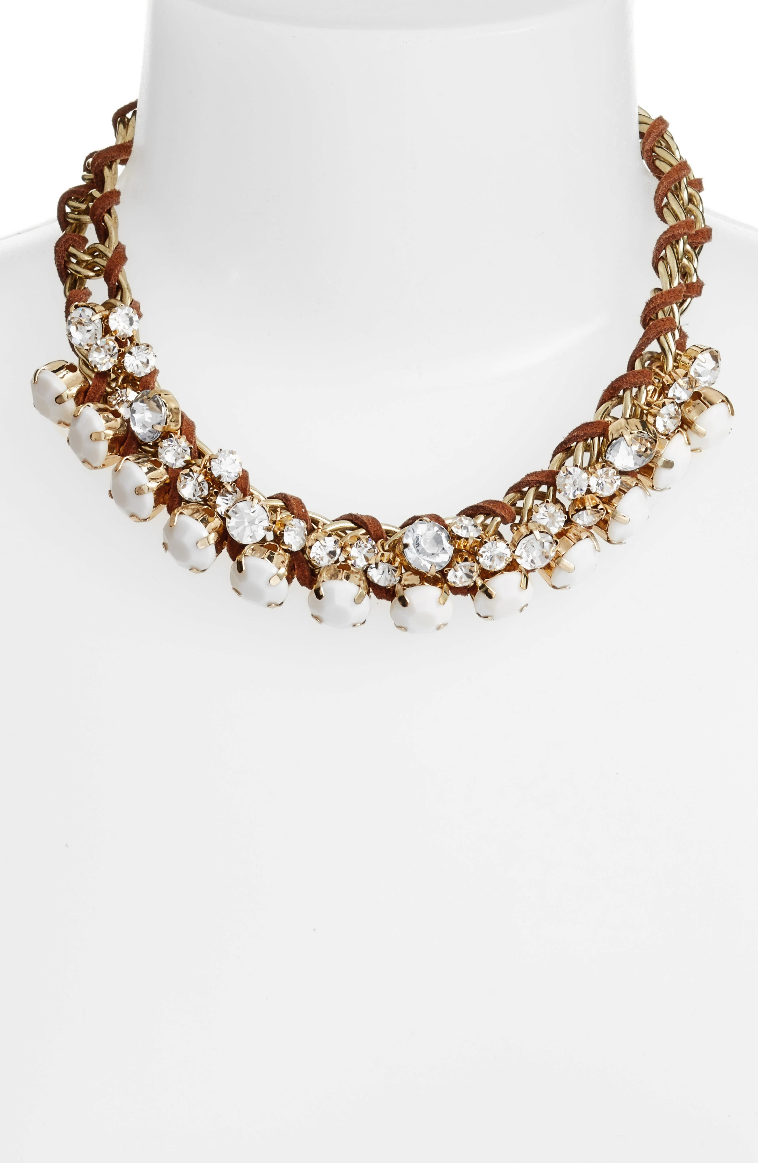 Woven Statement Necklace,                             Alternate thumbnail 2, color,                             Brown/ Beige