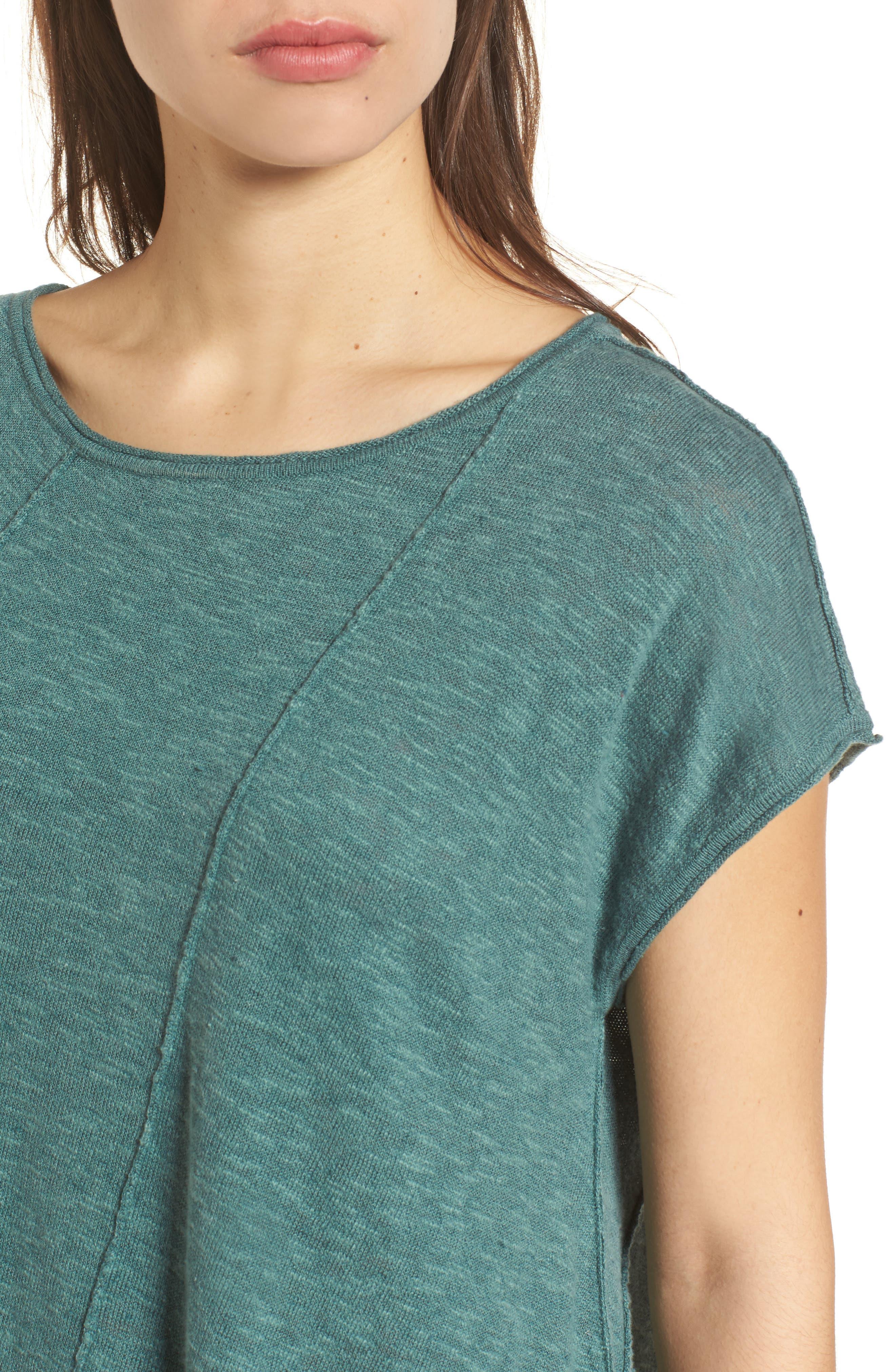 Cap Sleeve Organic Linen & Cotton Scoop Neck Top,                             Alternate thumbnail 4, color,                             Teal