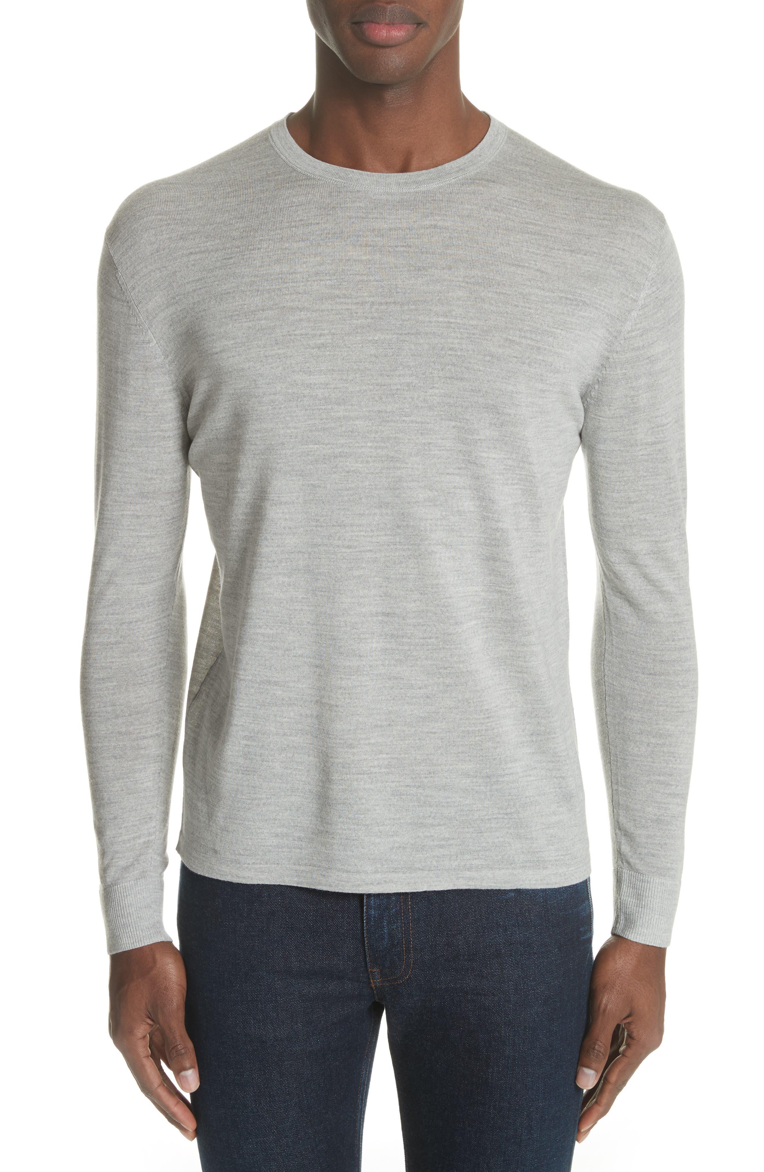 Nino Crewneck Wool Sweater,                         Main,                         color, Grey Melange