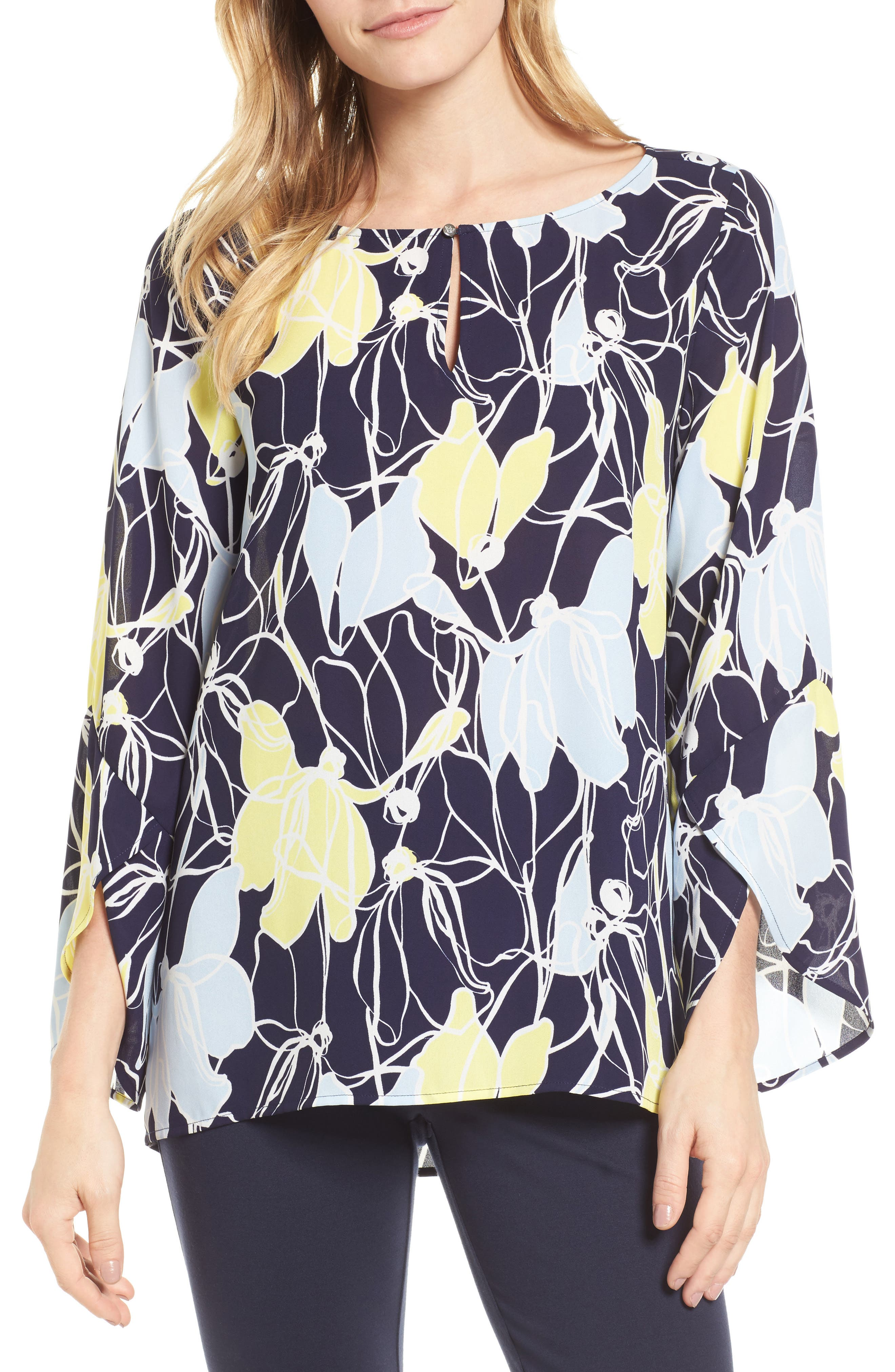 Aerial Flowers Keyhole Top,                             Main thumbnail 1, color,                             529-Evening Navy