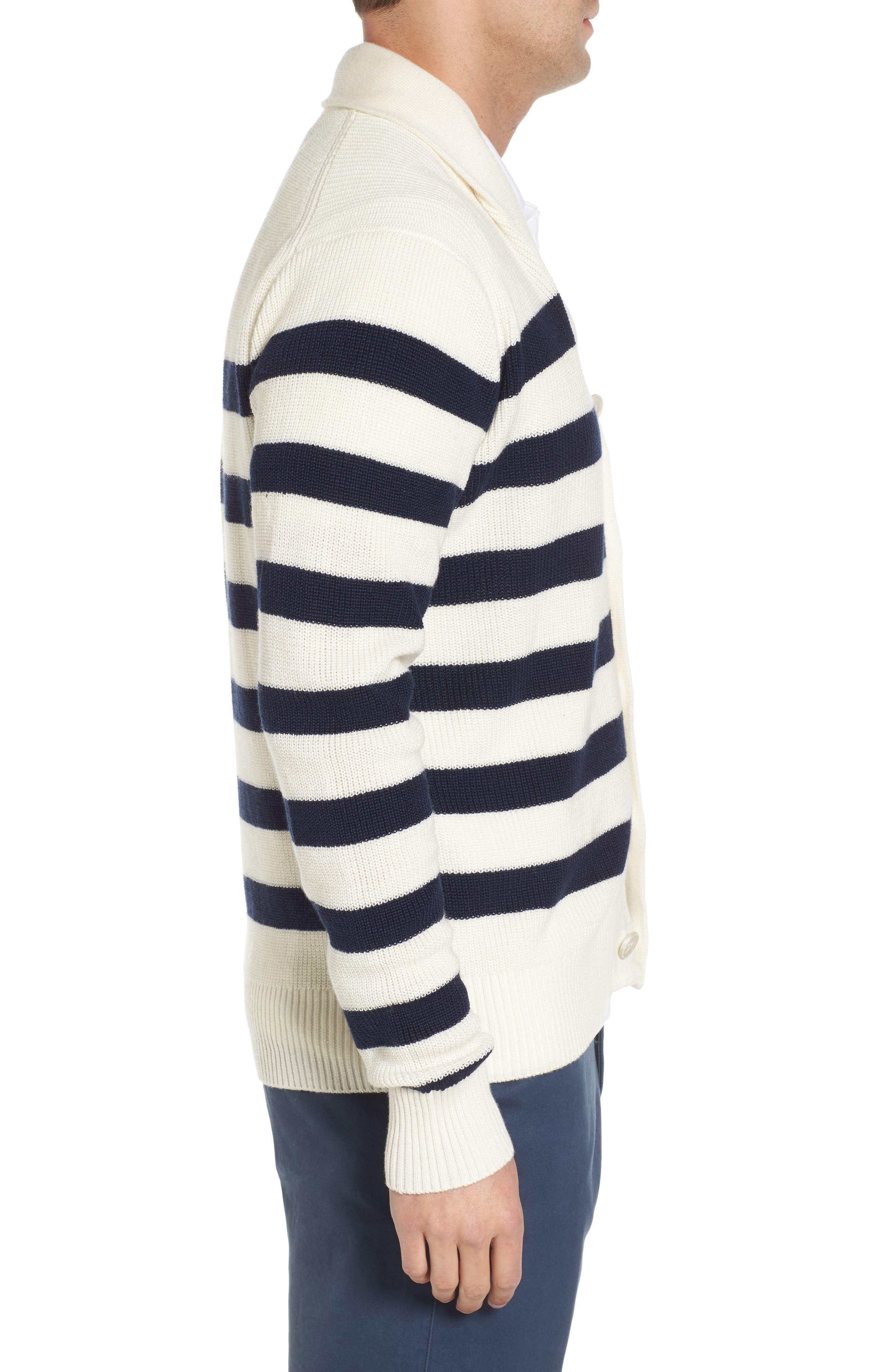 Crown Cool Sailor Stripe Merino Wool & Linen Cardigan,                             Alternate thumbnail 3, color,                             Yankee Blue
