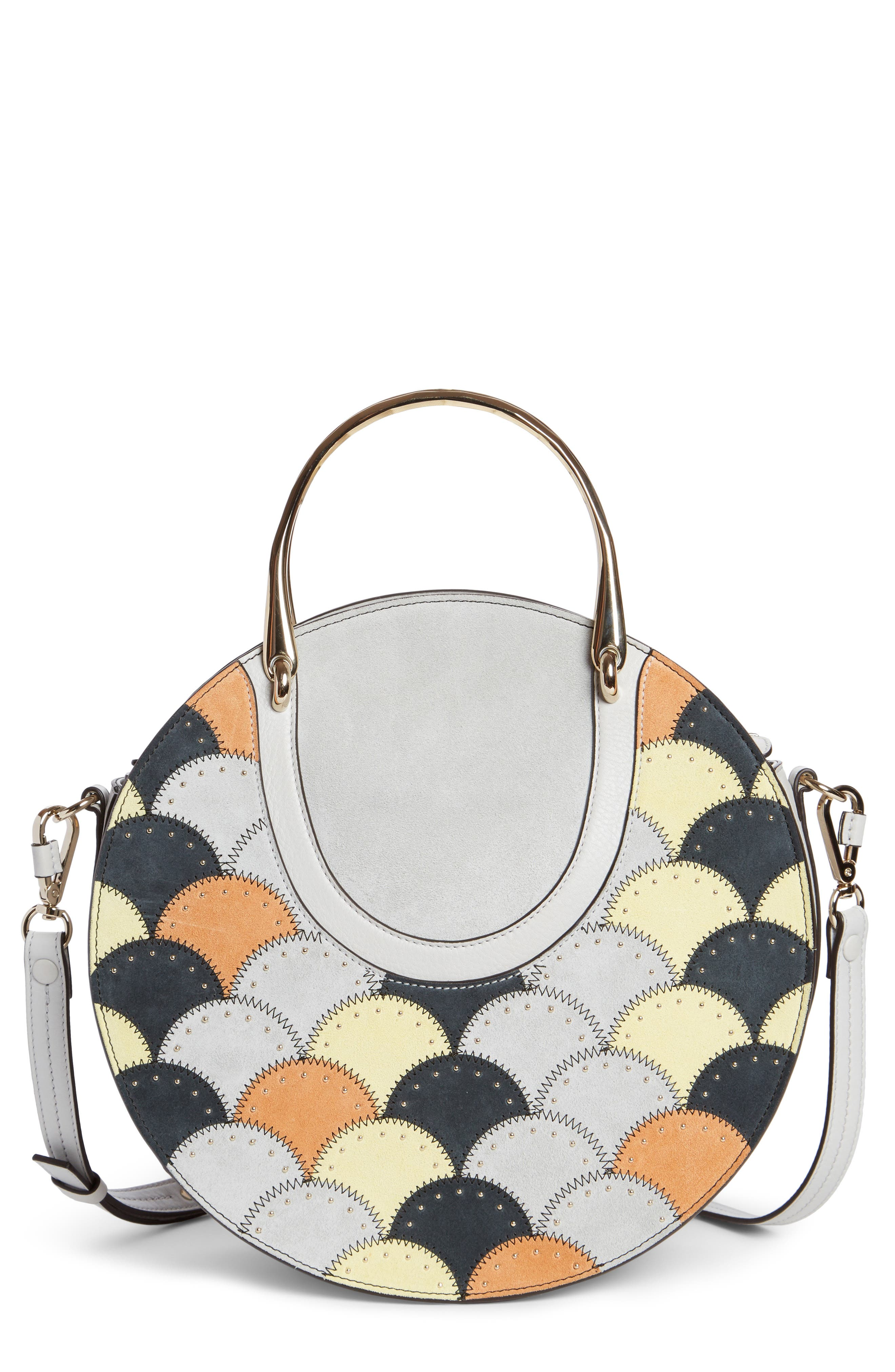 Chloé Maxi Pixie Studded Scales Calfskin Leather Top Handle Satchel