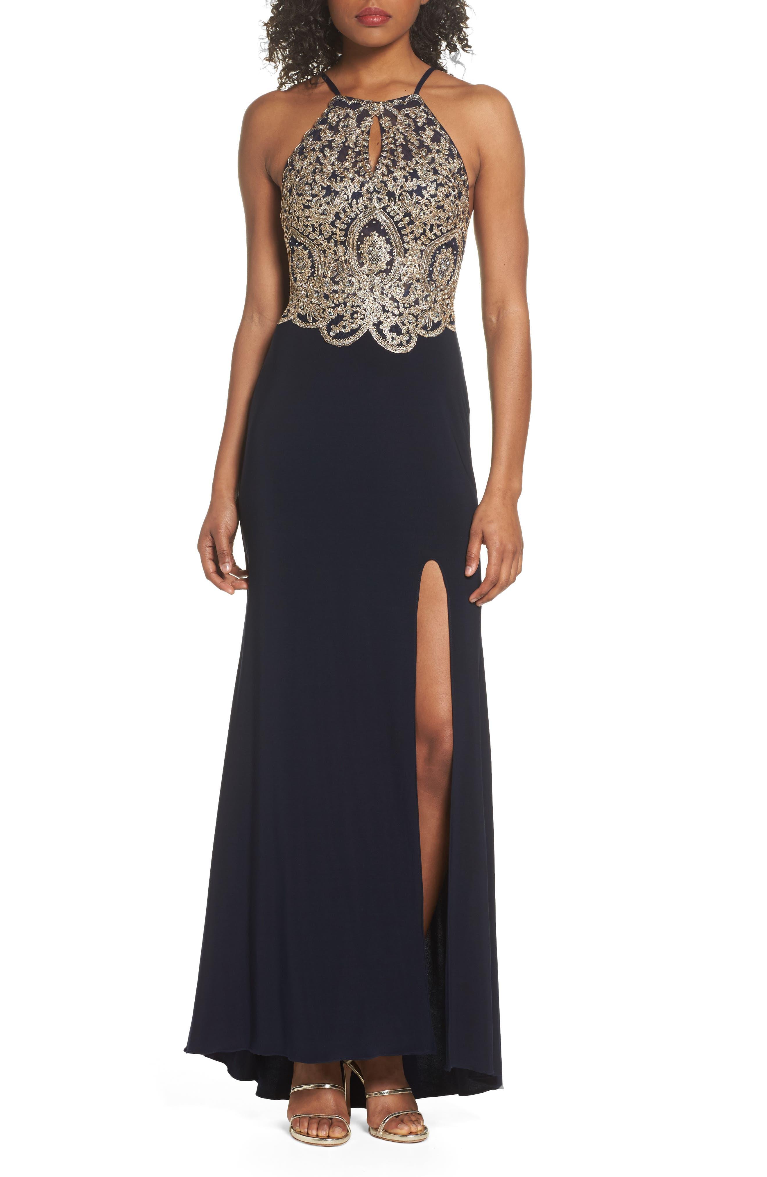 Blondie Nites Embellished Appliqué Halter Gown