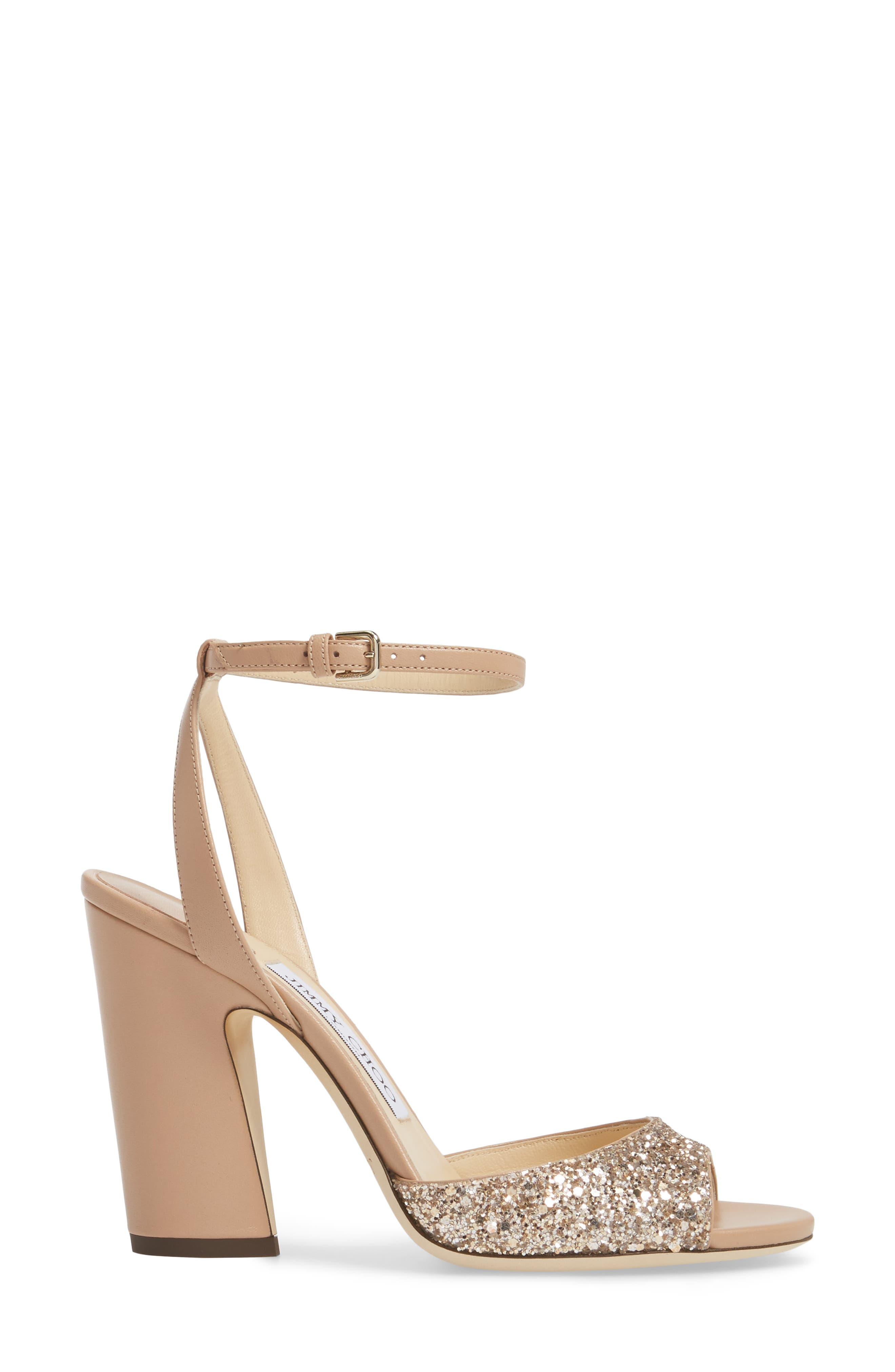 Miranda Statement Heel Sandal,                             Alternate thumbnail 3, color,                             Ballet Pink