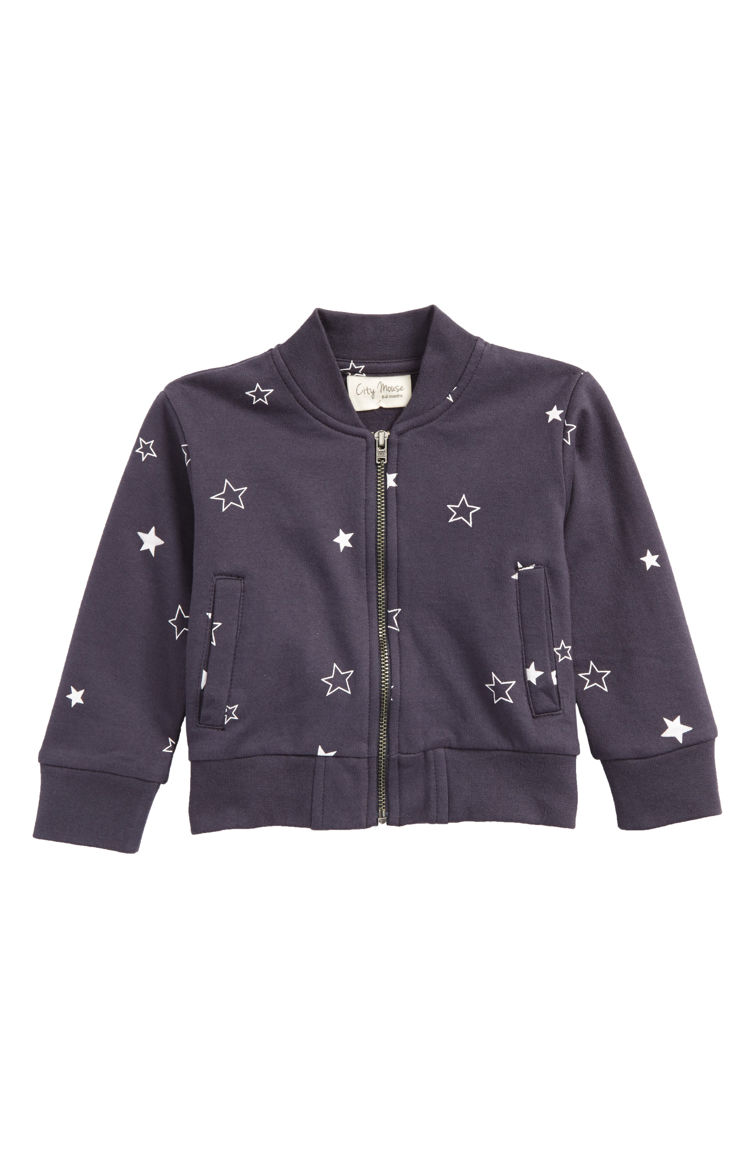 Star Print Baseball Jacket,                         Main,                         color, Night Sky