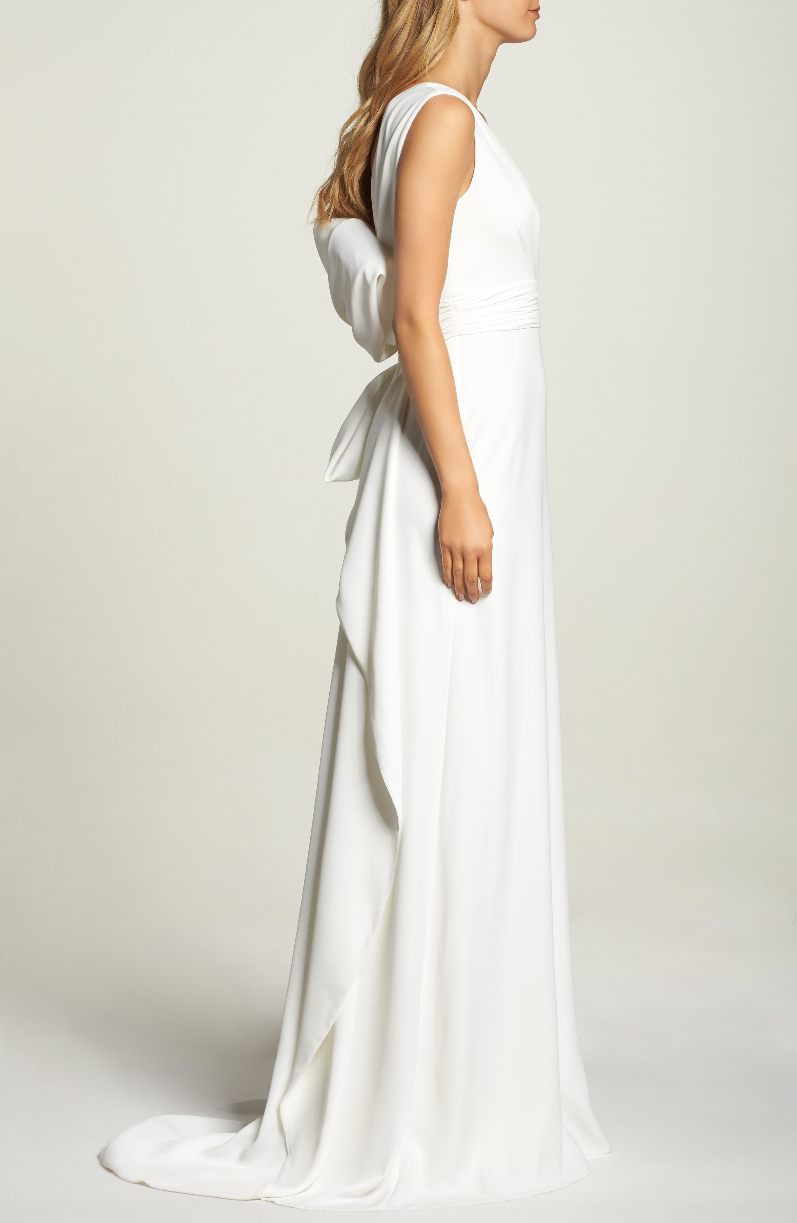 Statement Bow Crepe Gown,                             Alternate thumbnail 3, color,                             Ivory