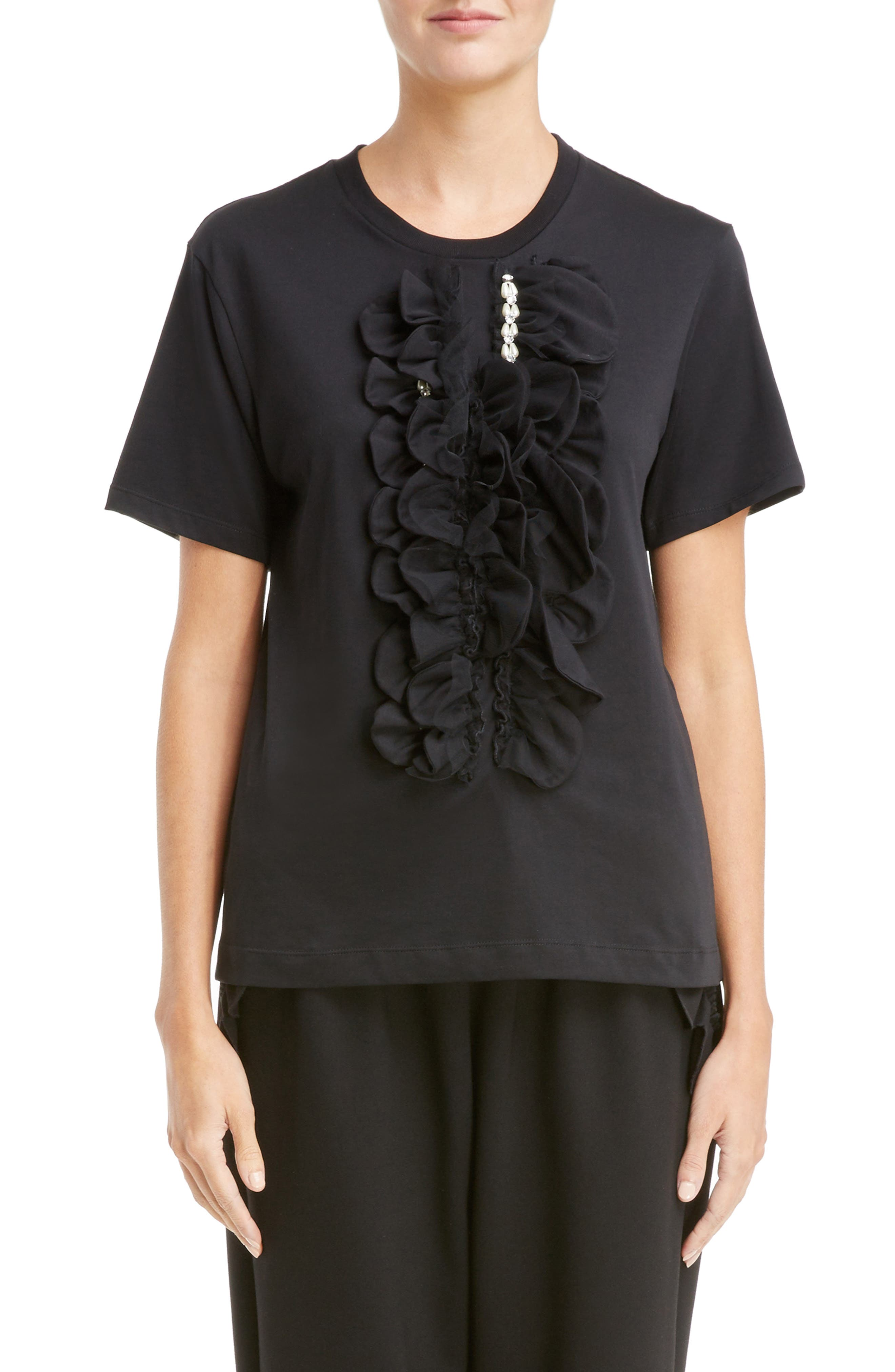 Embellished Ruffle Cotton Tee,                         Main,                         color, Black Pearl