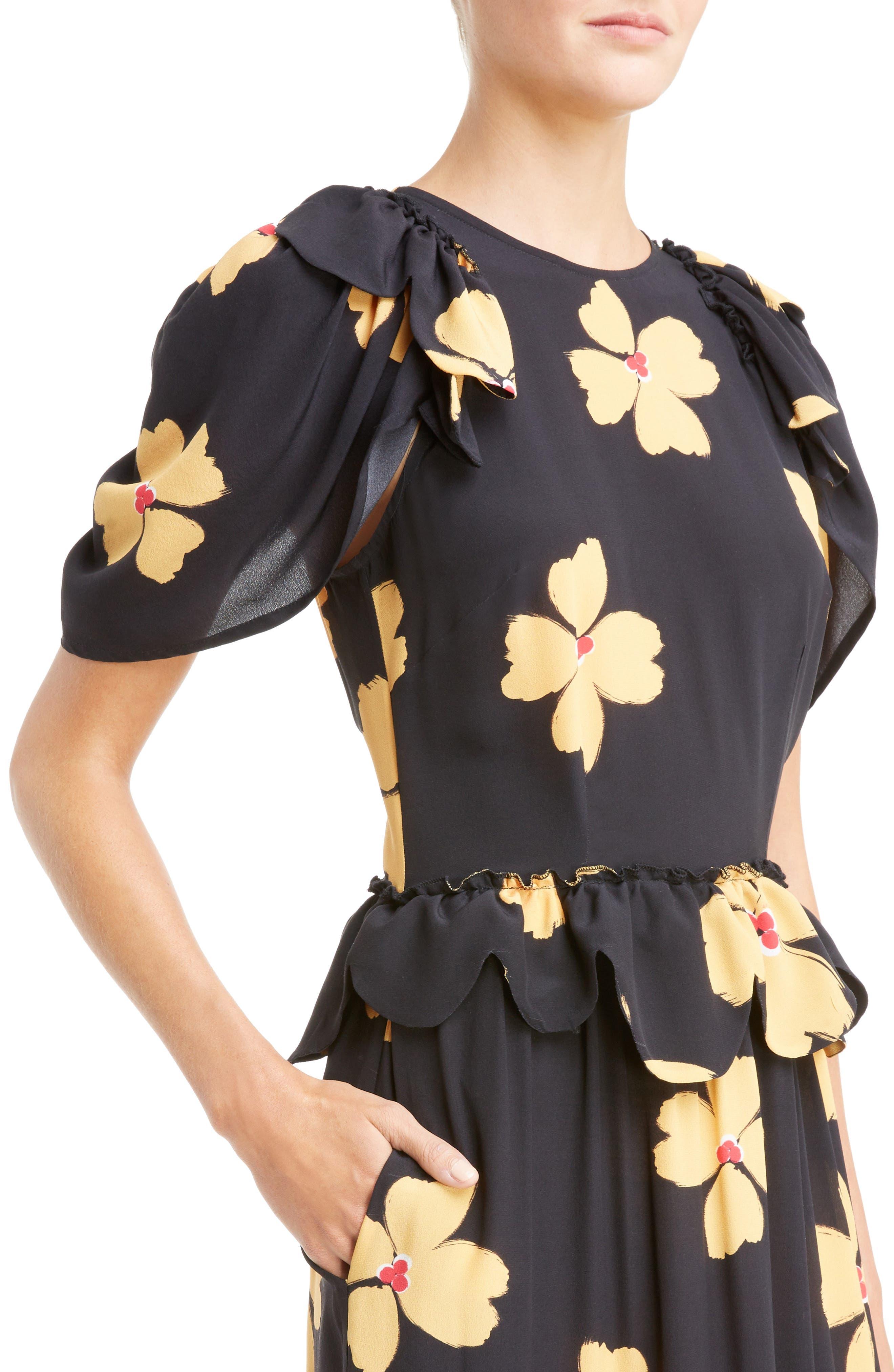 Scallop Trim Floral Silk Dress,                             Alternate thumbnail 4, color,                             Black Clementine