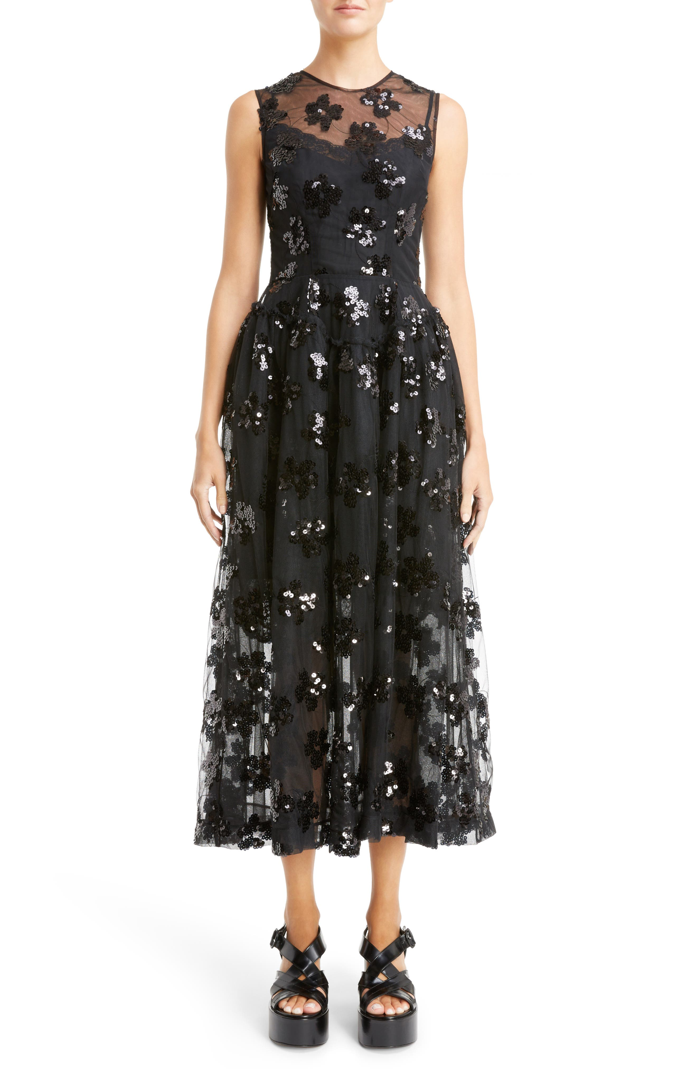 Simone Rocha Sequin Tulle Midi Dress