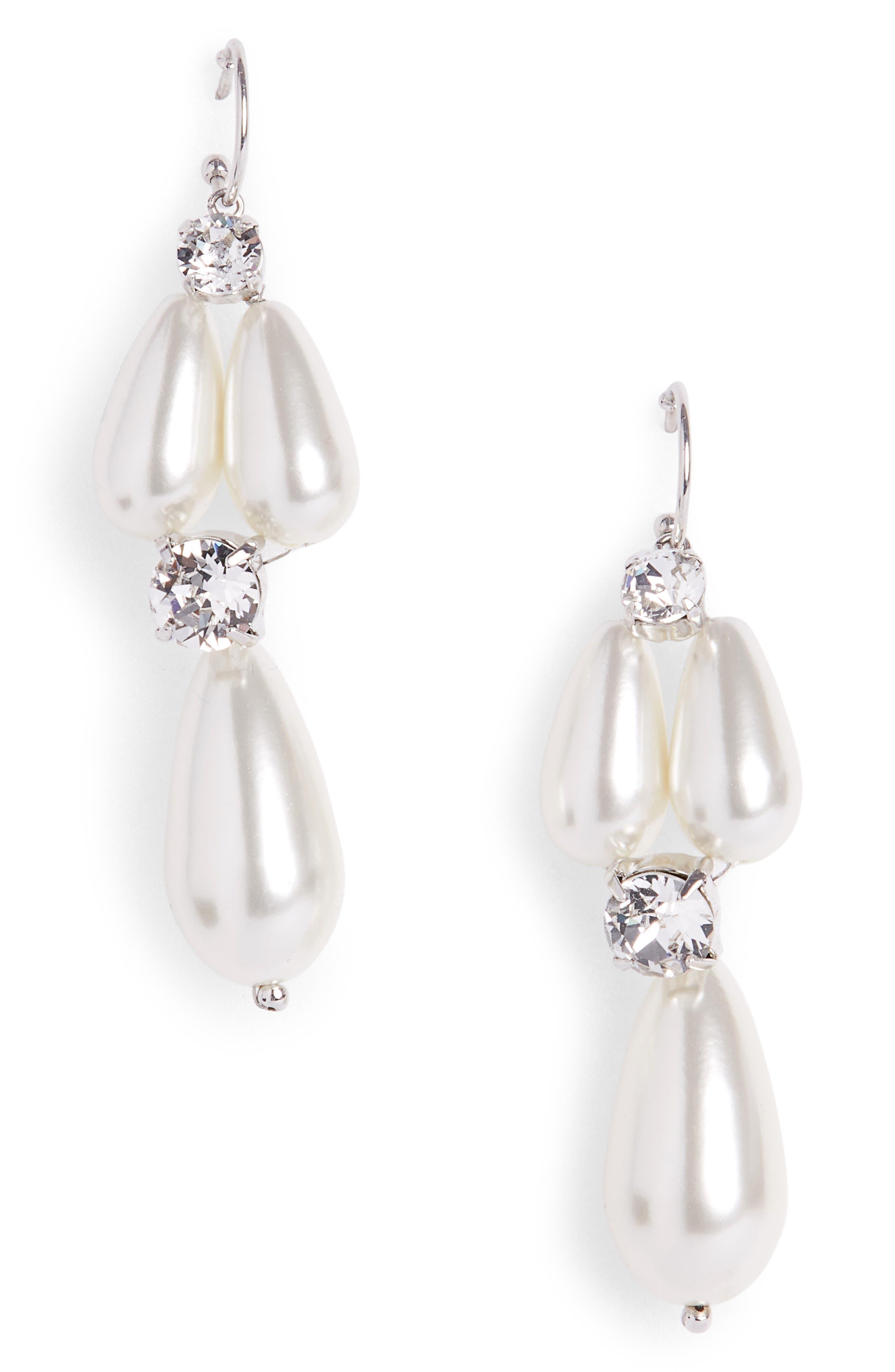 Short Imitation Pearl Drop Earrings,                             Main thumbnail 1, color,                             Pearl