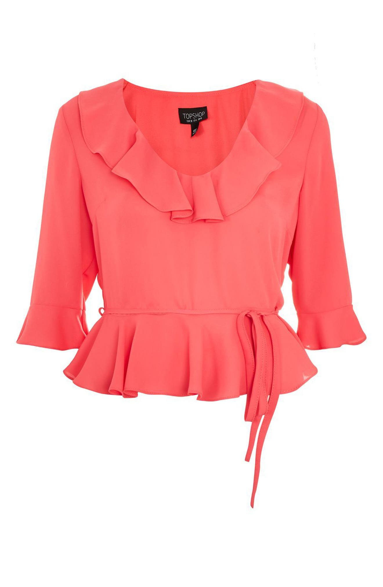 Phoebe Frilly Blouse,                             Alternate thumbnail 3, color,                             Fuschia
