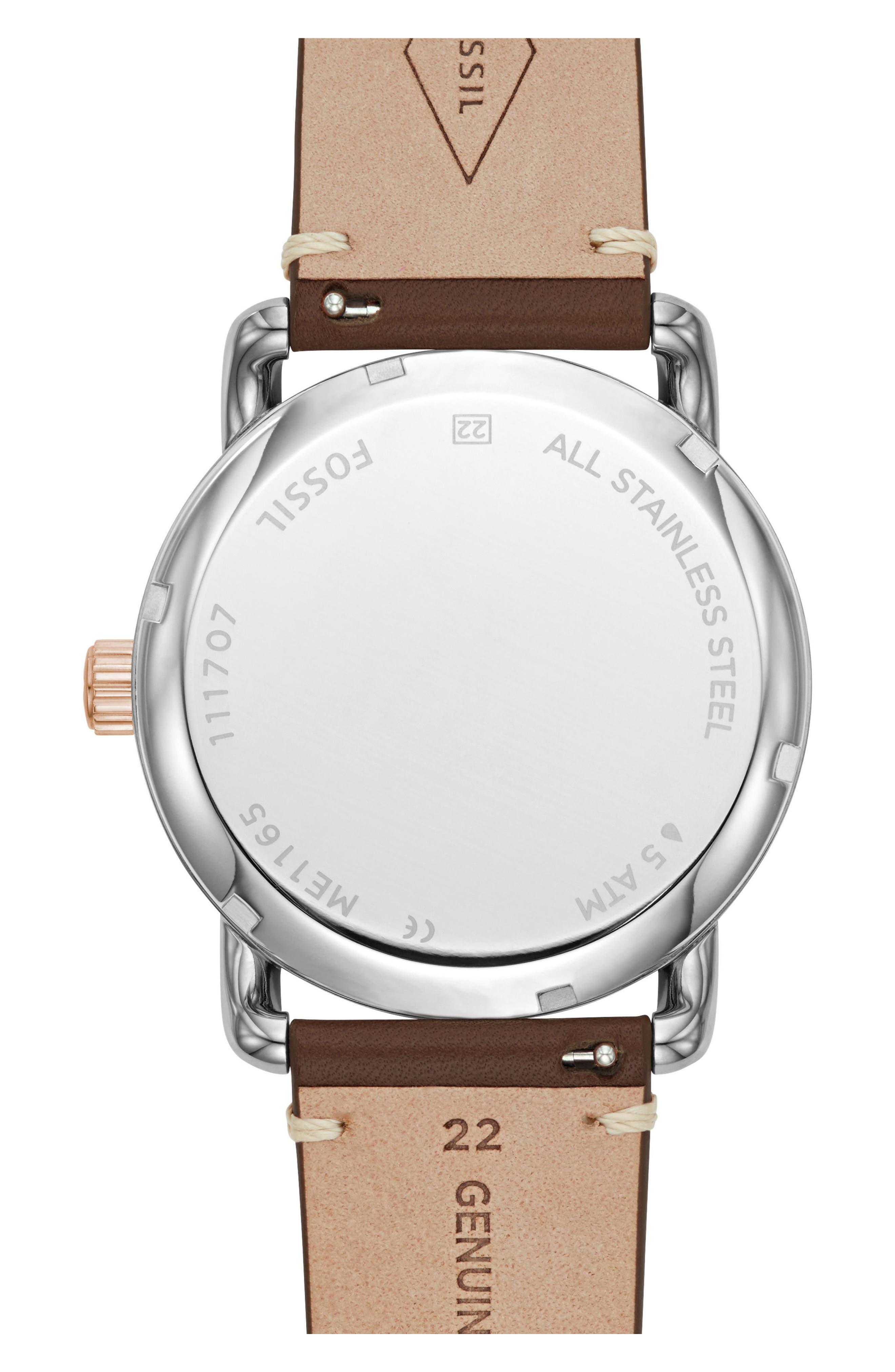 Alternate Image 2  - Fossil Commuter Twist Leather Strap Watch, 42mm