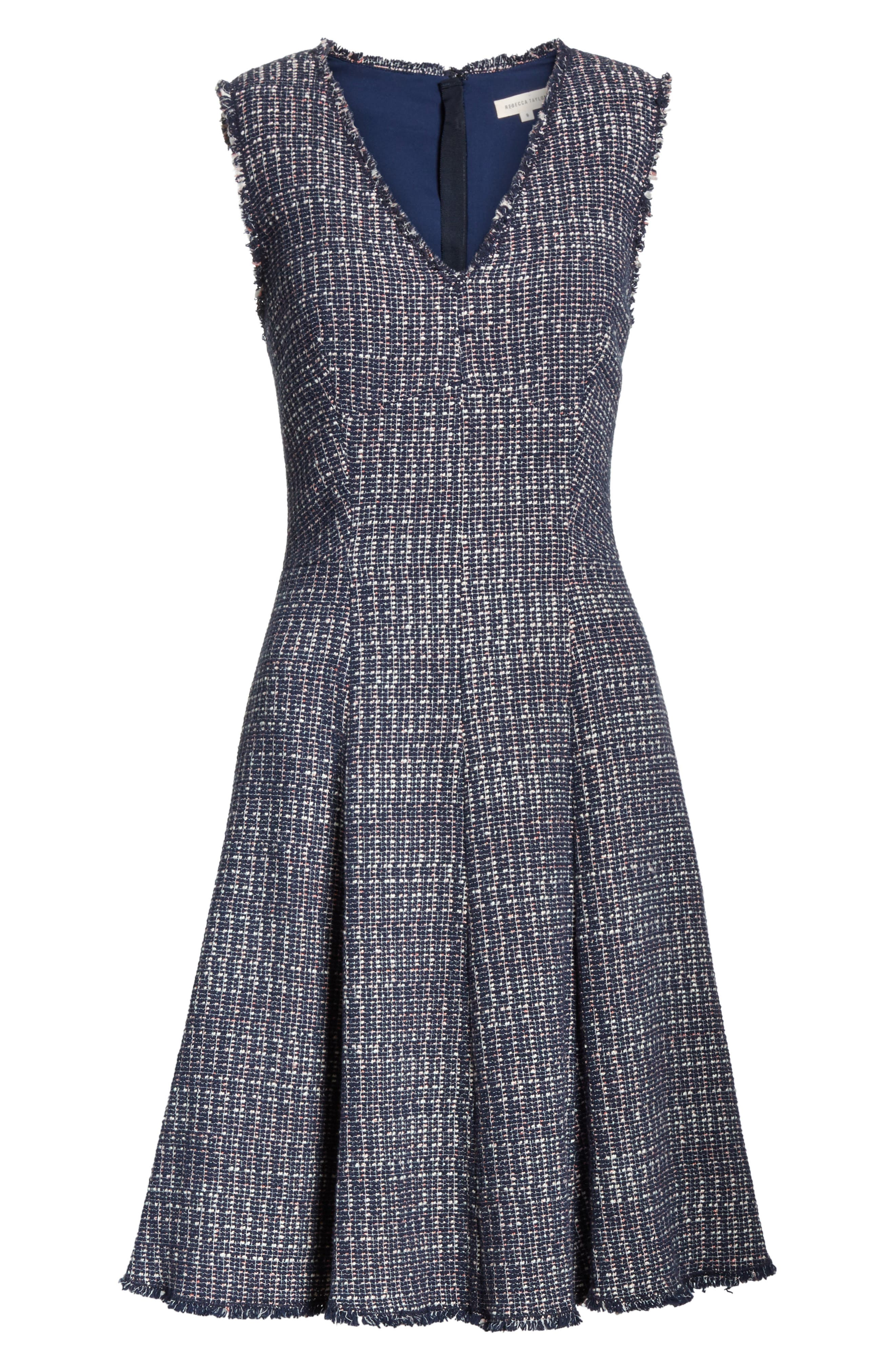 Multi Tweed Fit & Flare Dress,                             Alternate thumbnail 6, color,                             Navy Combo