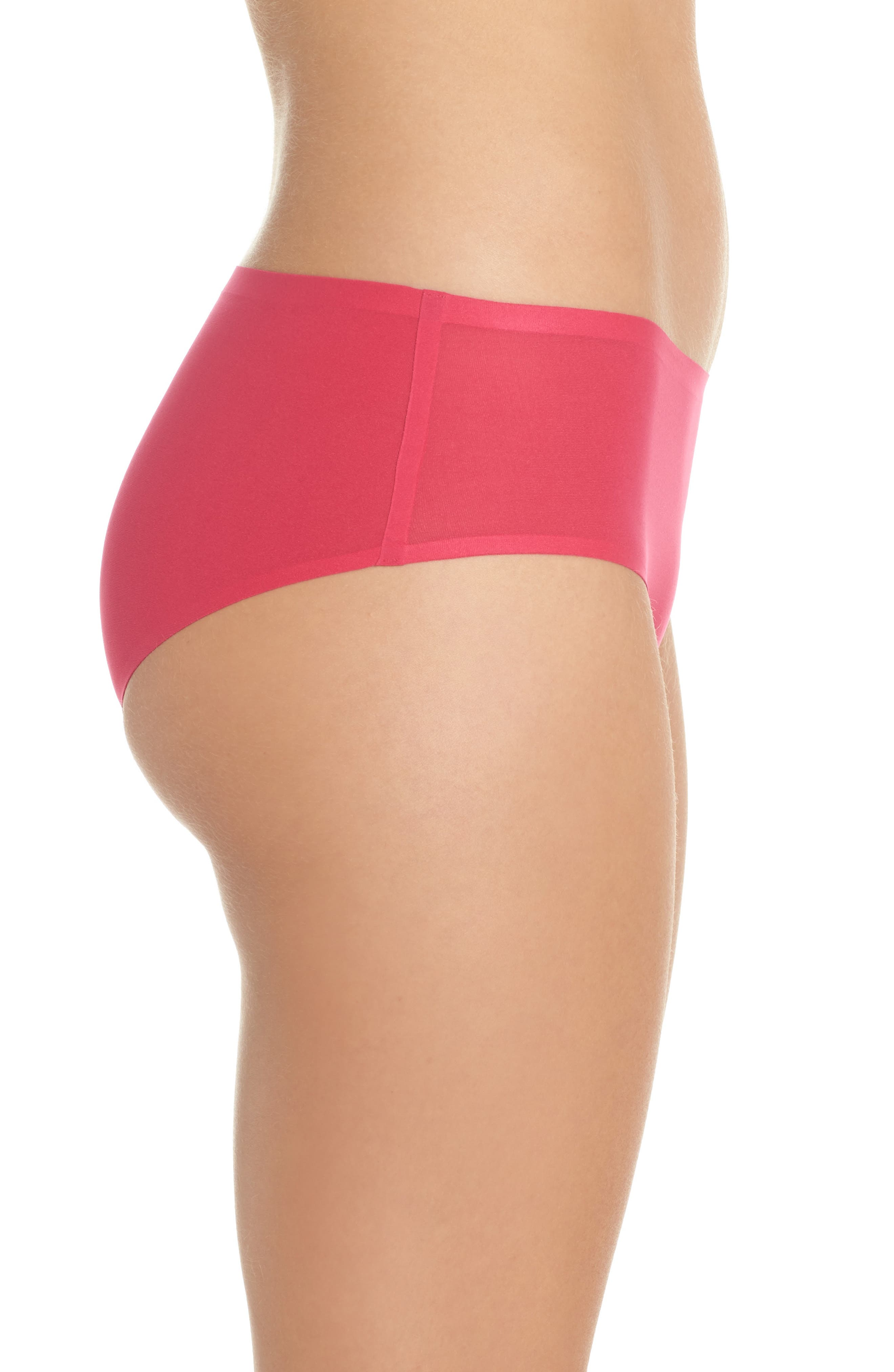 Soft Stretch Seamless Hipster Panties,                             Alternate thumbnail 3, color,                             Raspberry