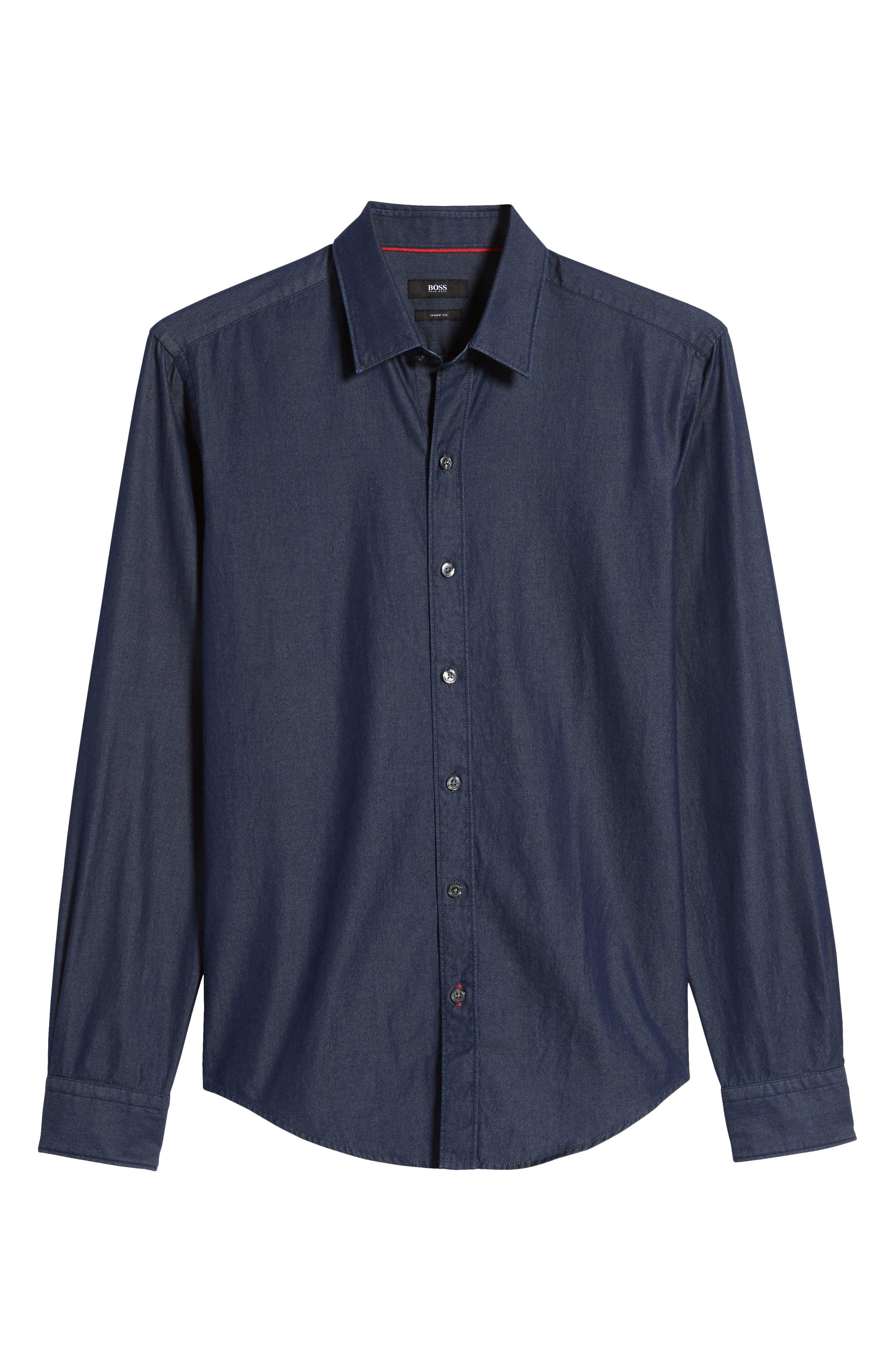 Robbie Regular Fit Denim Sport Shirt,                             Alternate thumbnail 6, color,                             Blue