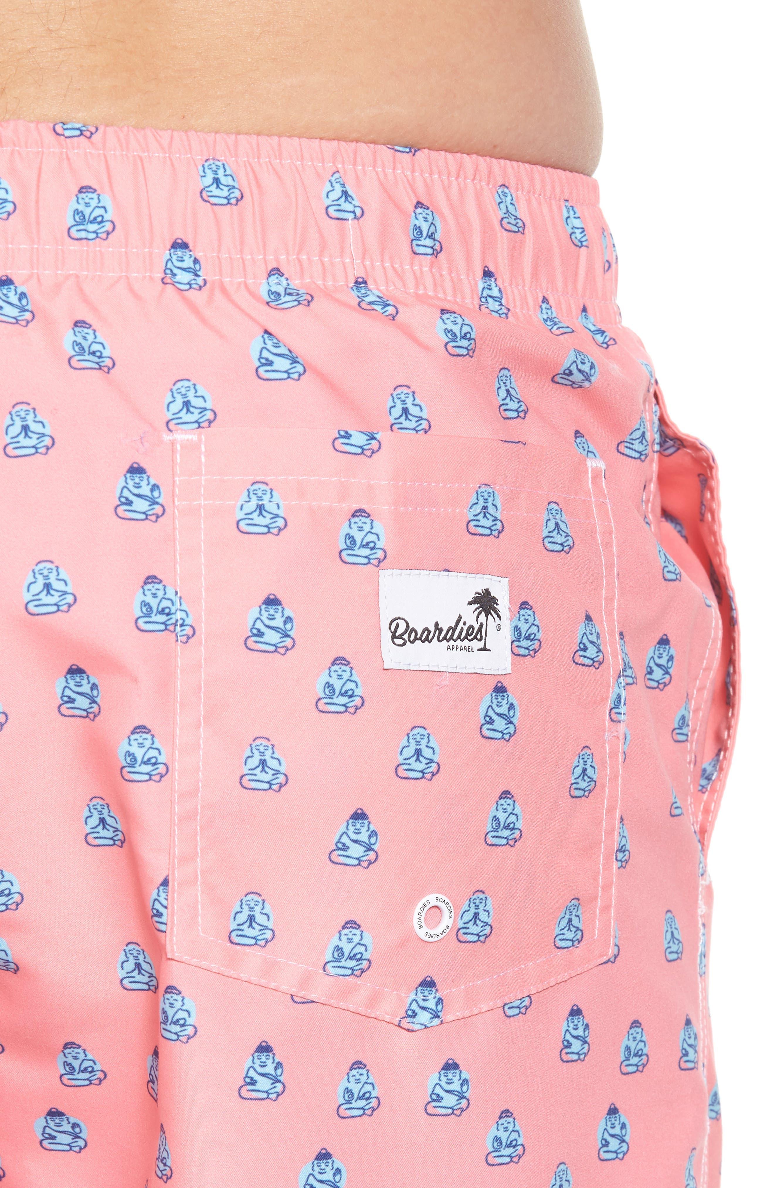 Polka Zen Swim Shorts,                             Alternate thumbnail 4, color,                             Pink