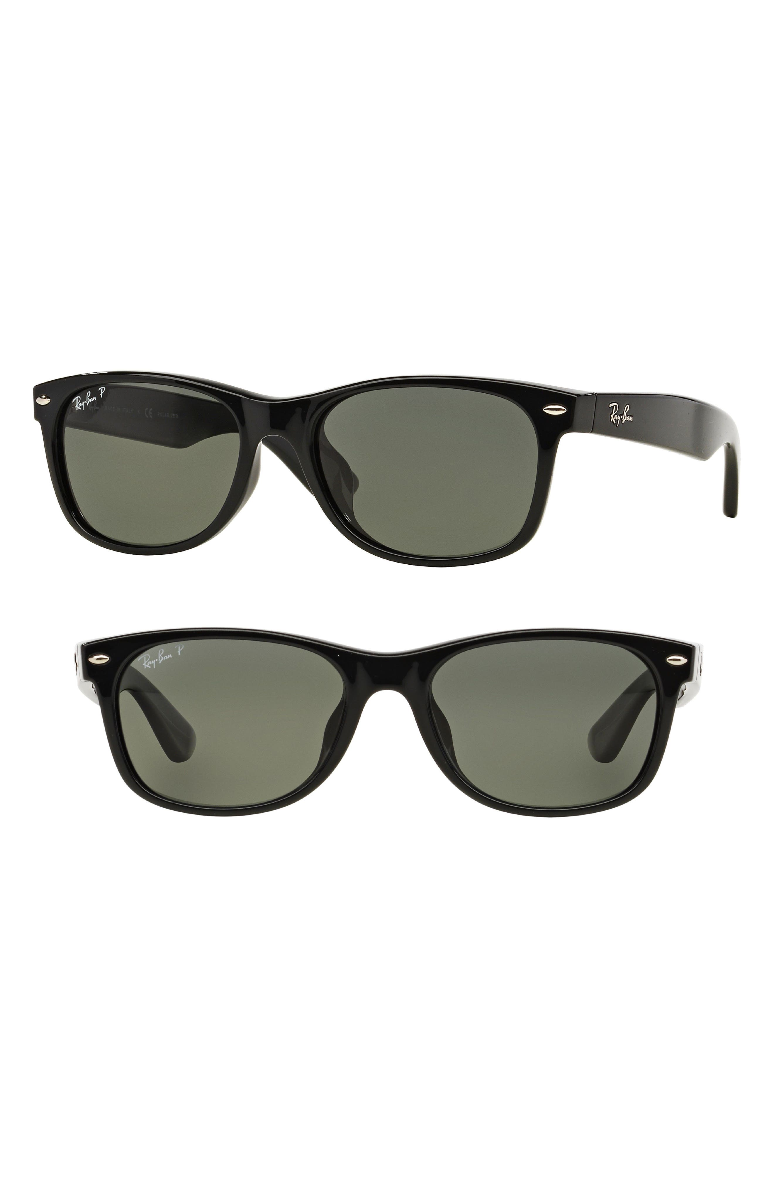 New Wayfarer Classic 58mm Polarized Sunglasses,                             Main thumbnail 1, color,                             Black Polar