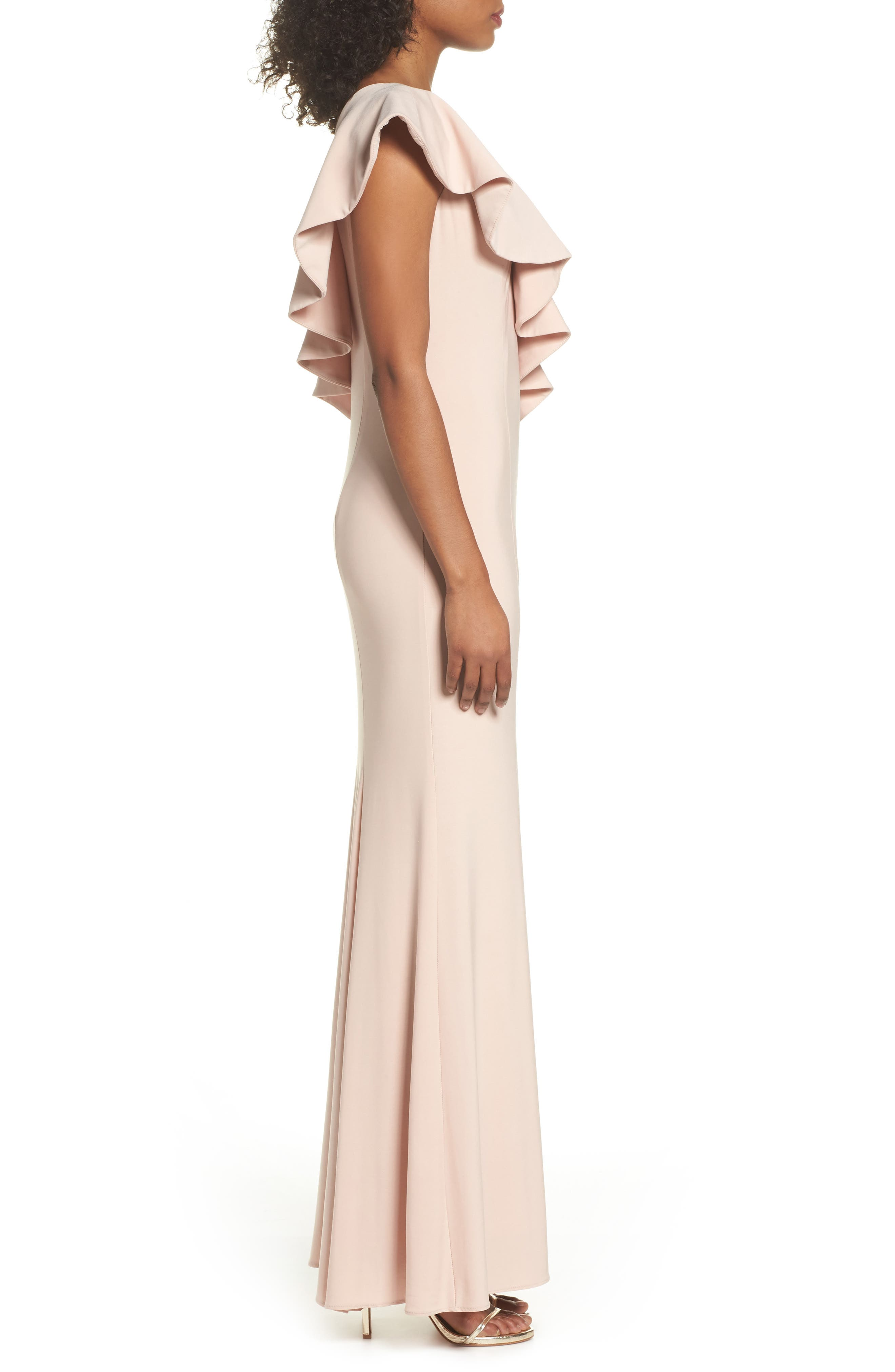 Ruffle Knit One-Shoulder Gown,                             Alternate thumbnail 3, color,                             Blush