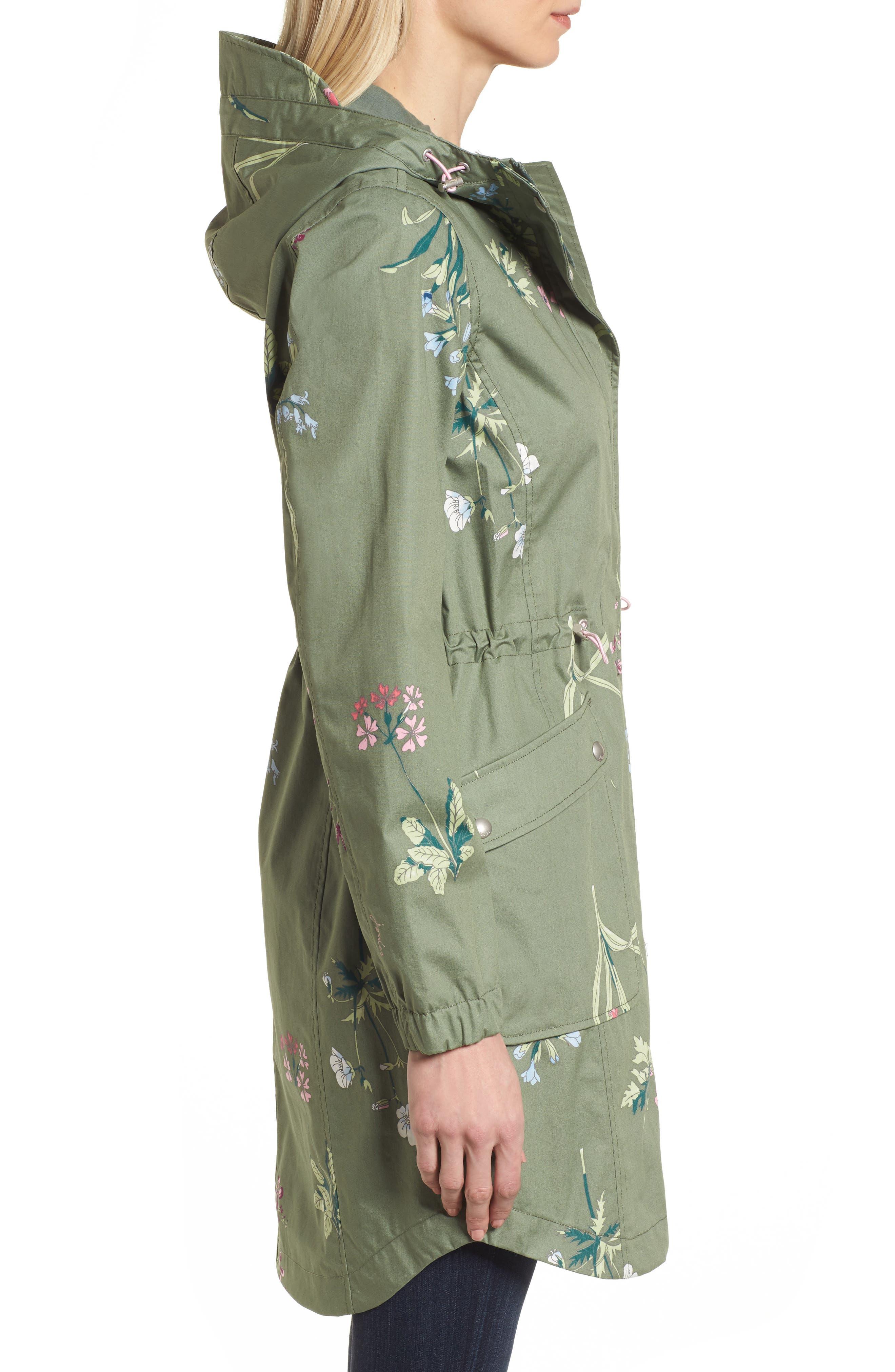 Right as Rain - Coastline Waterproof Cotton Jacket,                             Alternate thumbnail 3, color,                             Laurel Botanical