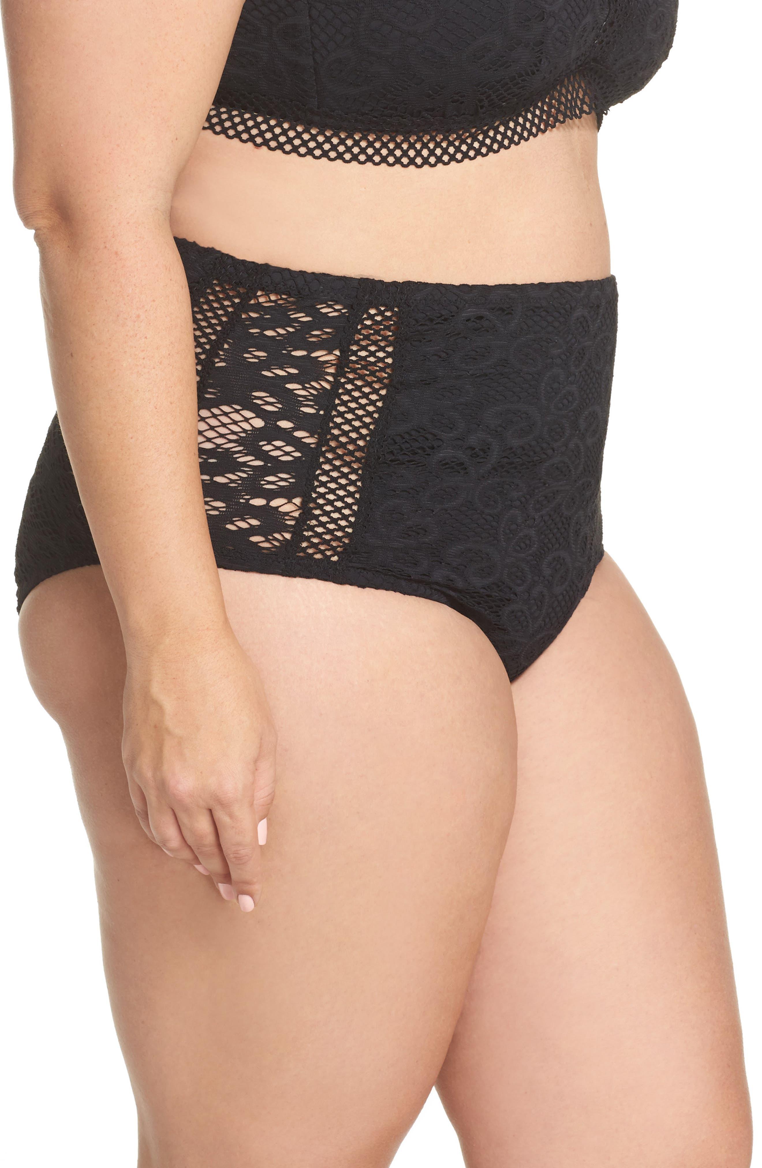 Becca Captured High Waist Bikini Bottoms,                             Alternate thumbnail 3, color,                             Black