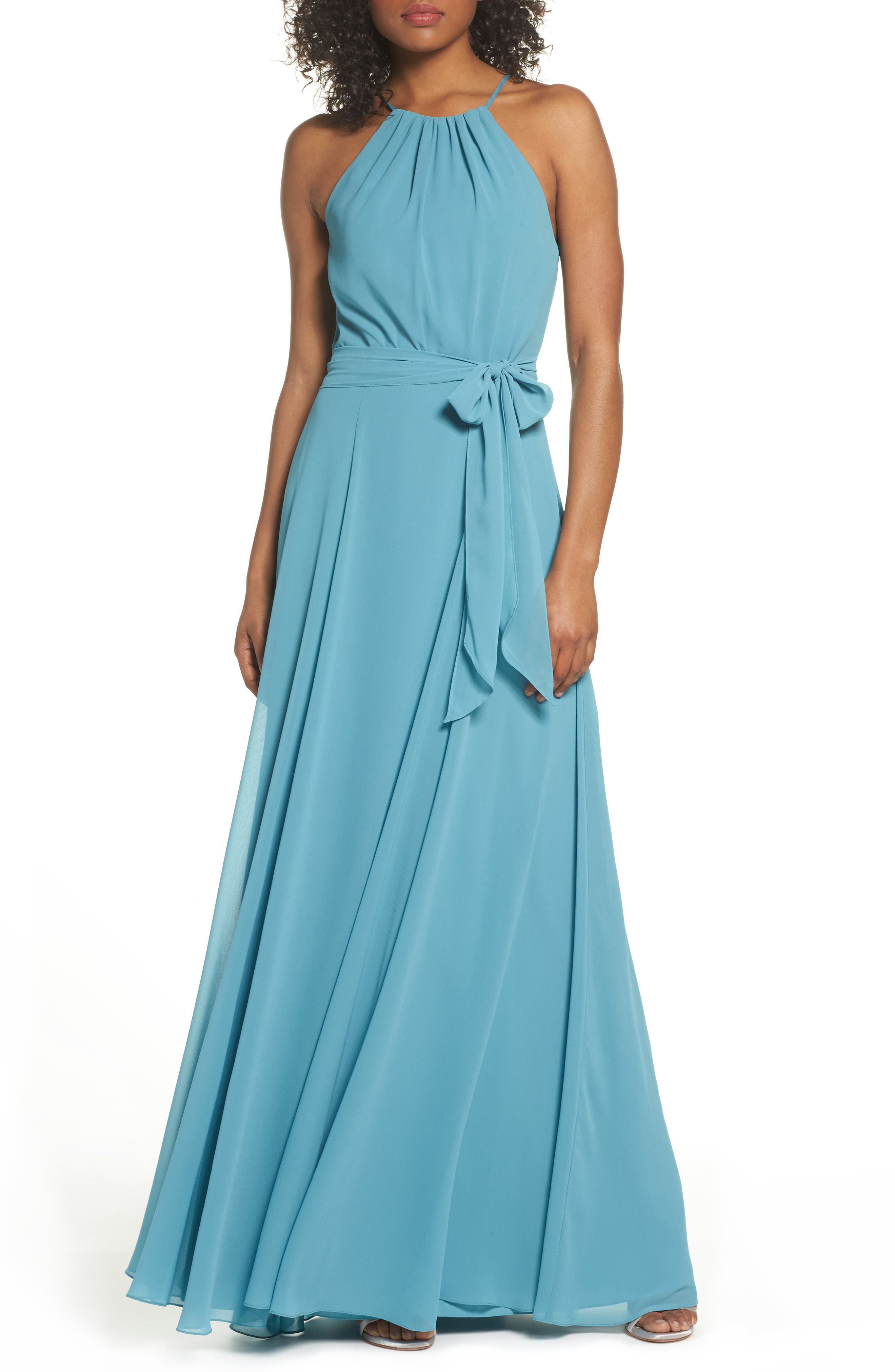 Kyra Chiffon Halter Gown,                         Main,                         color, Teal