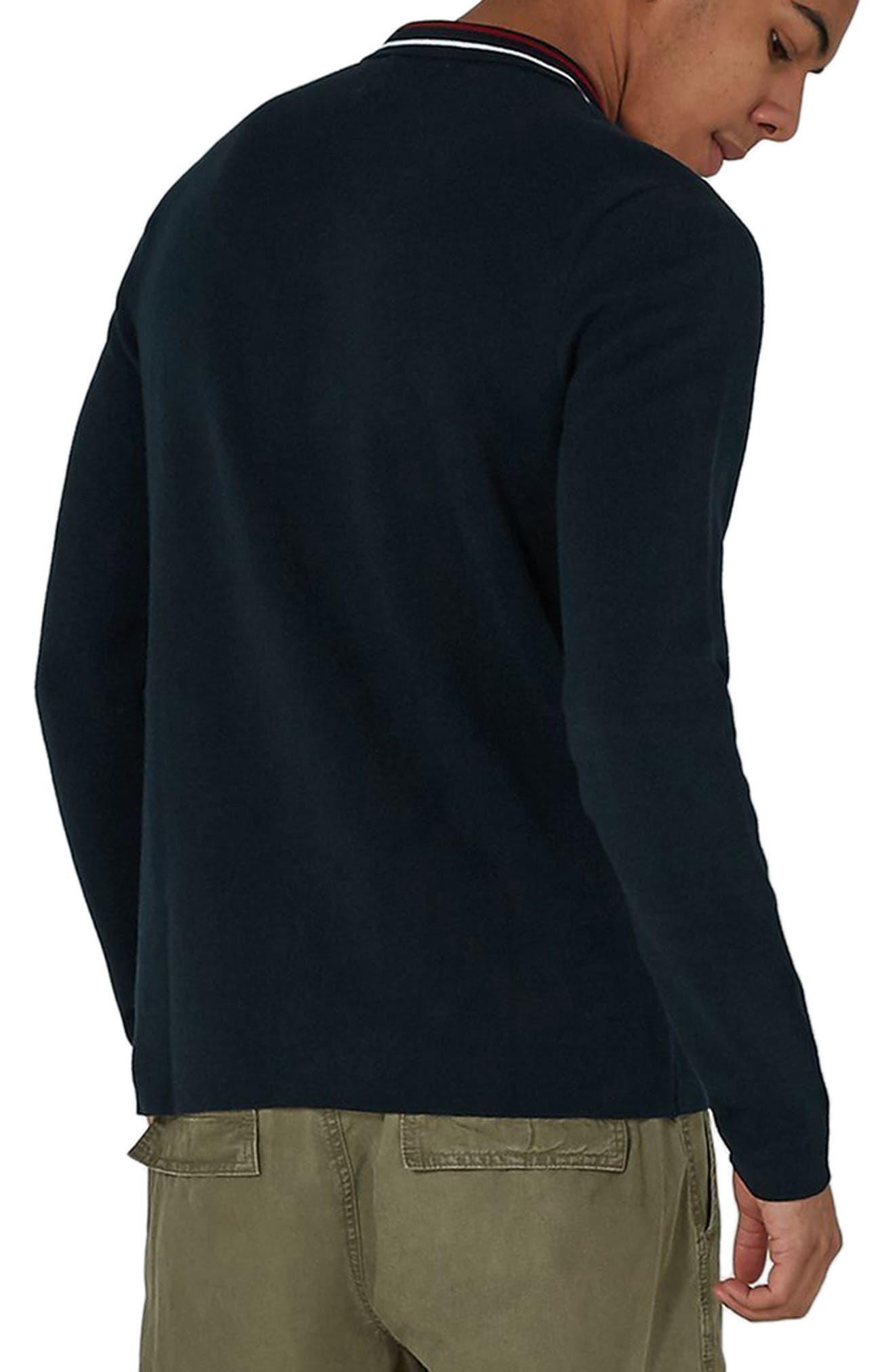 Stripe Knit Zip Front Harrington Sweatshirt,                             Alternate thumbnail 2, color,                             Navy Blue Multi