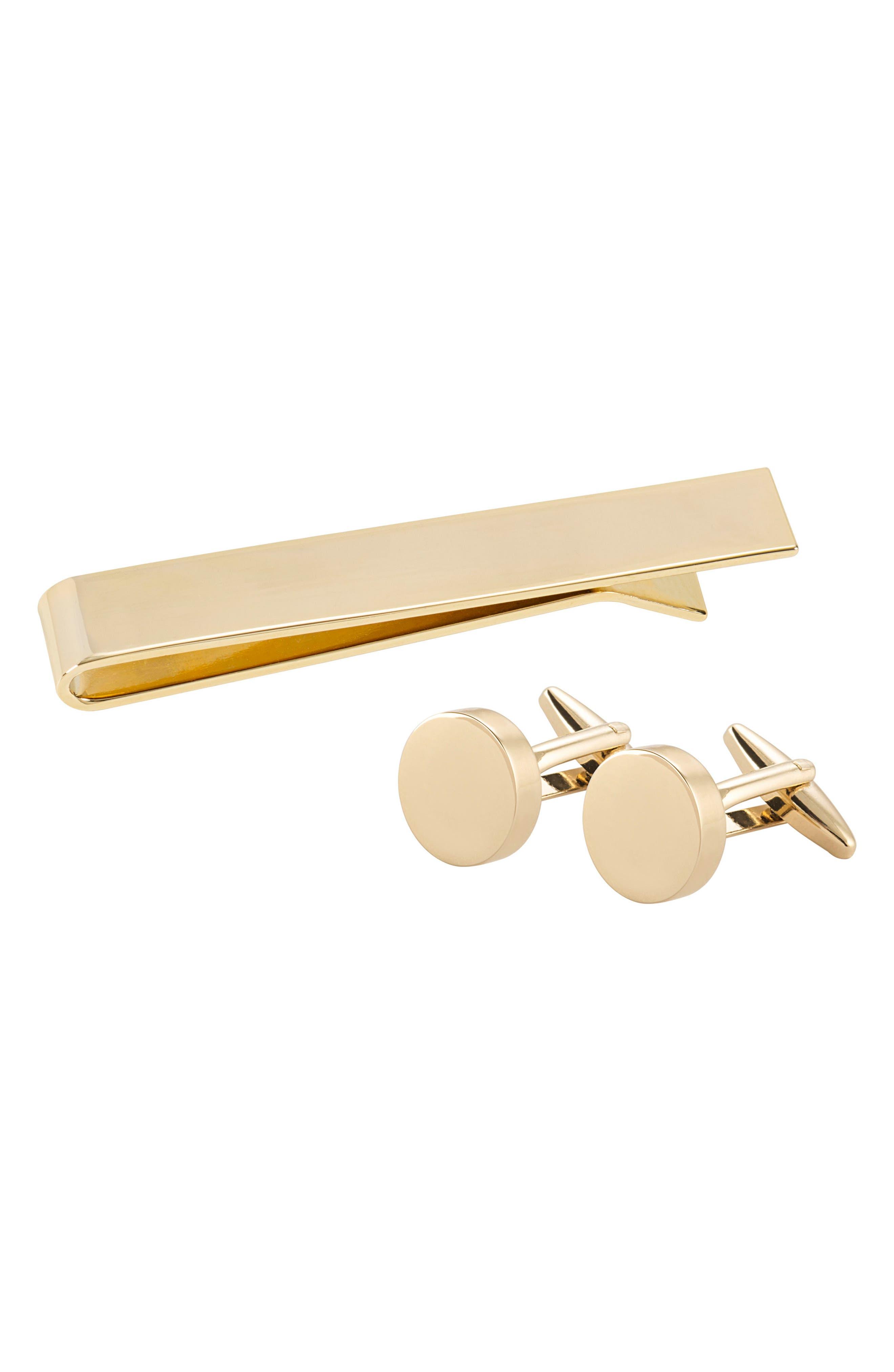 Monogram Cuff Links & Tie Bar Set,                         Main,                         color, Gold