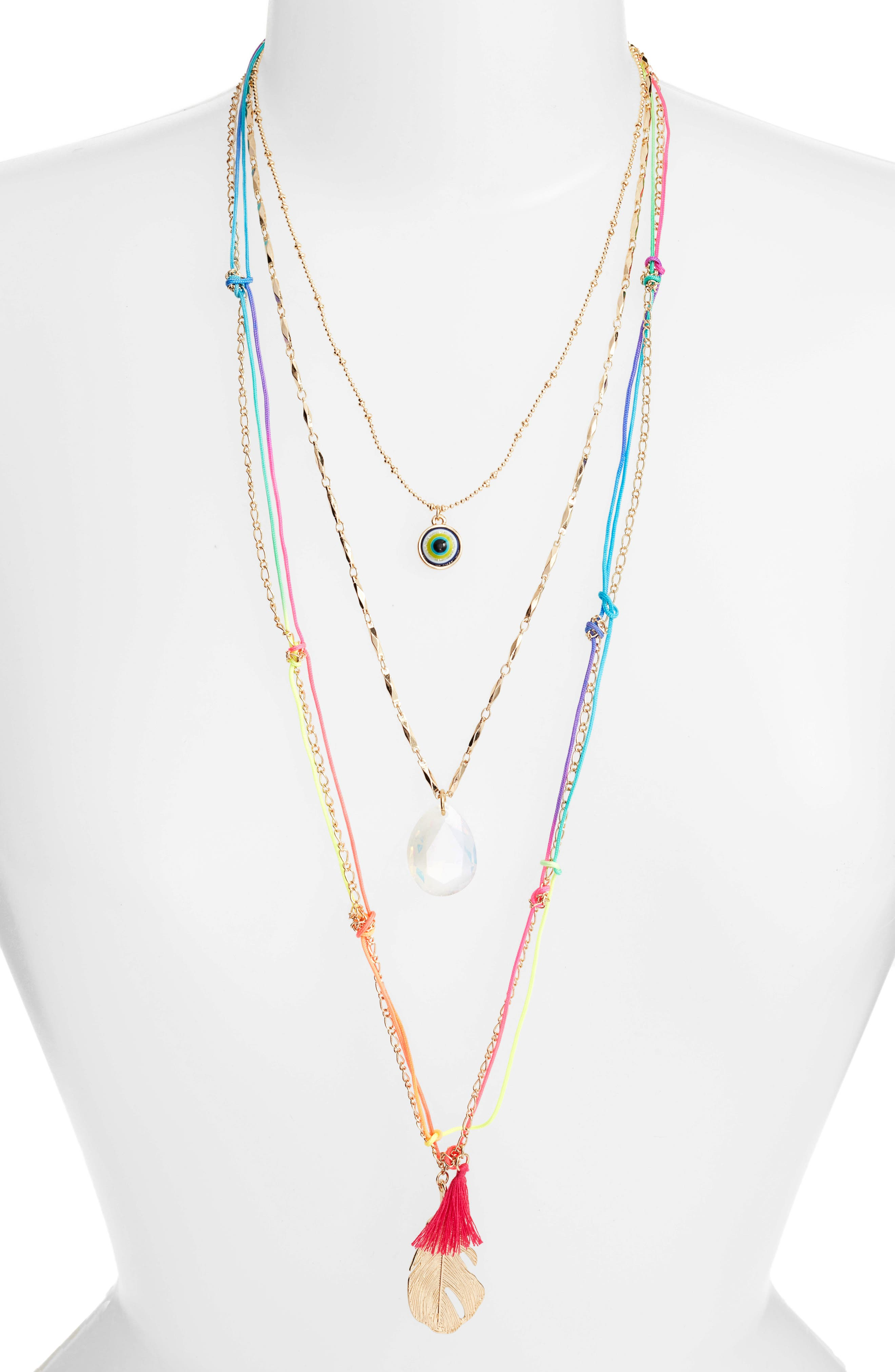 Charm Layered Necklace,                         Main,                         color, Multi