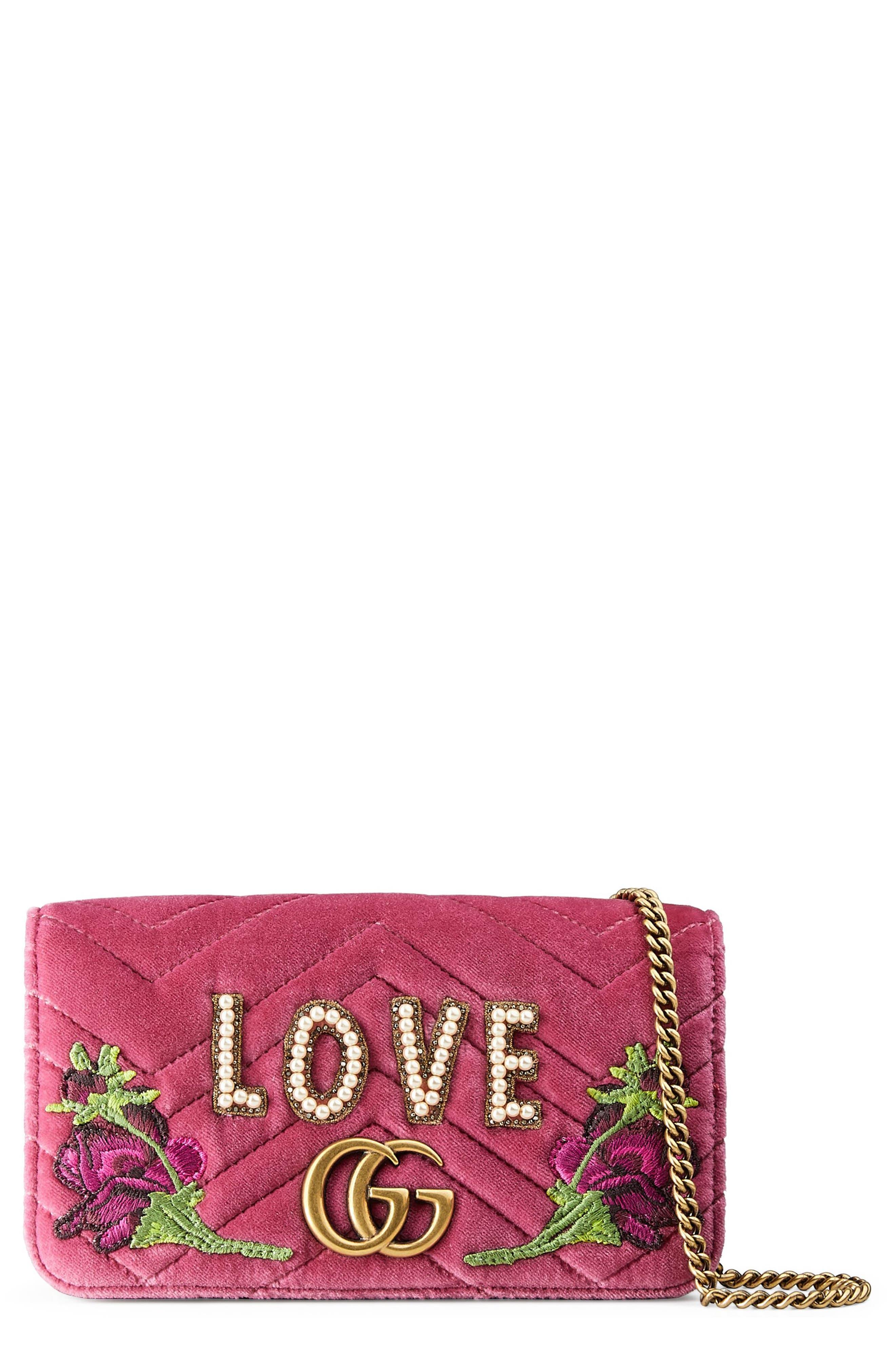 GG Marmont 2.0 Embellished Velvet Shoulder Bag,                         Main,                         color, Light Raspberry/ Ivory