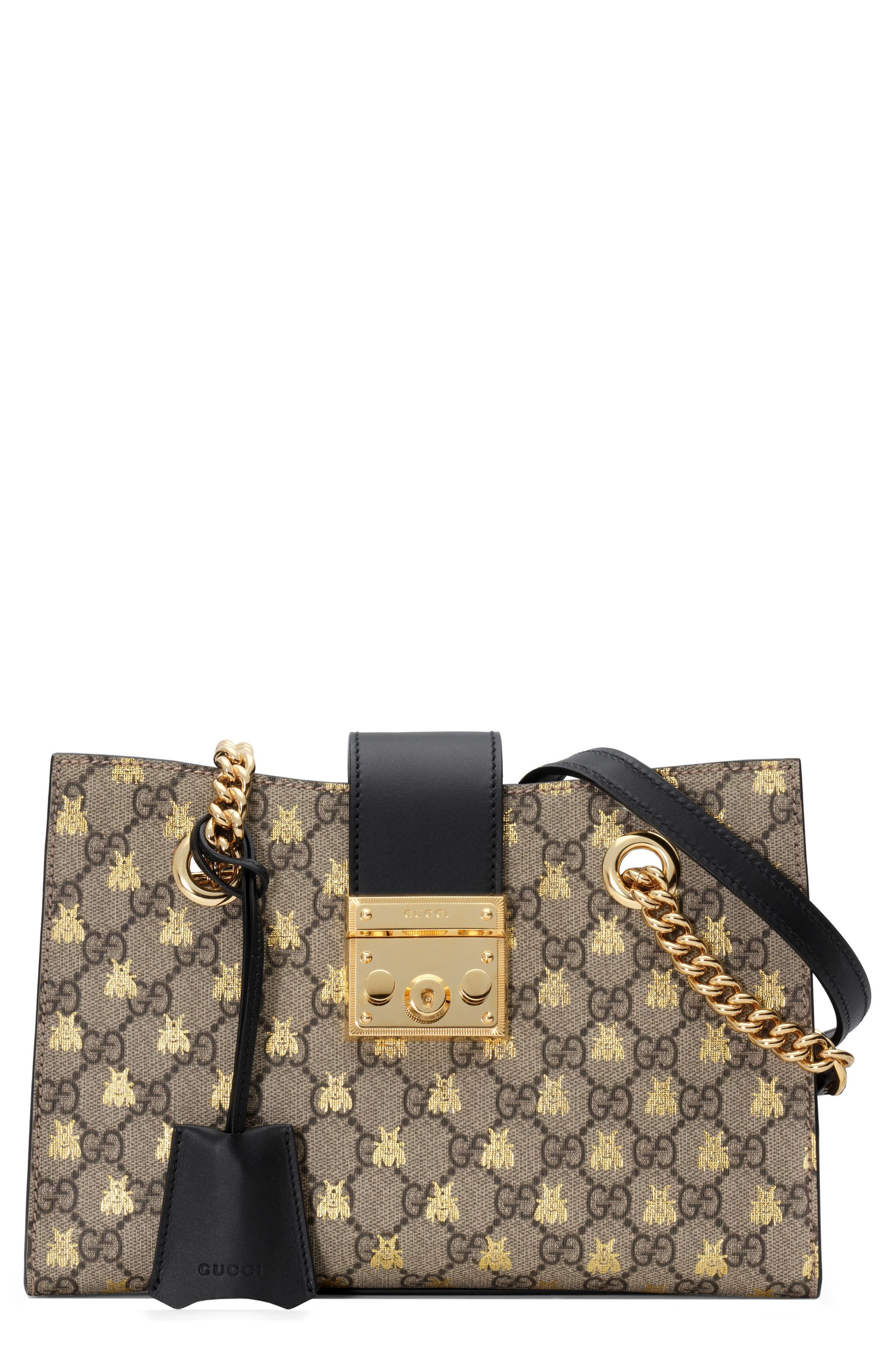 Gucci Small Padlock GG Supreme Bee Shoulder Bag