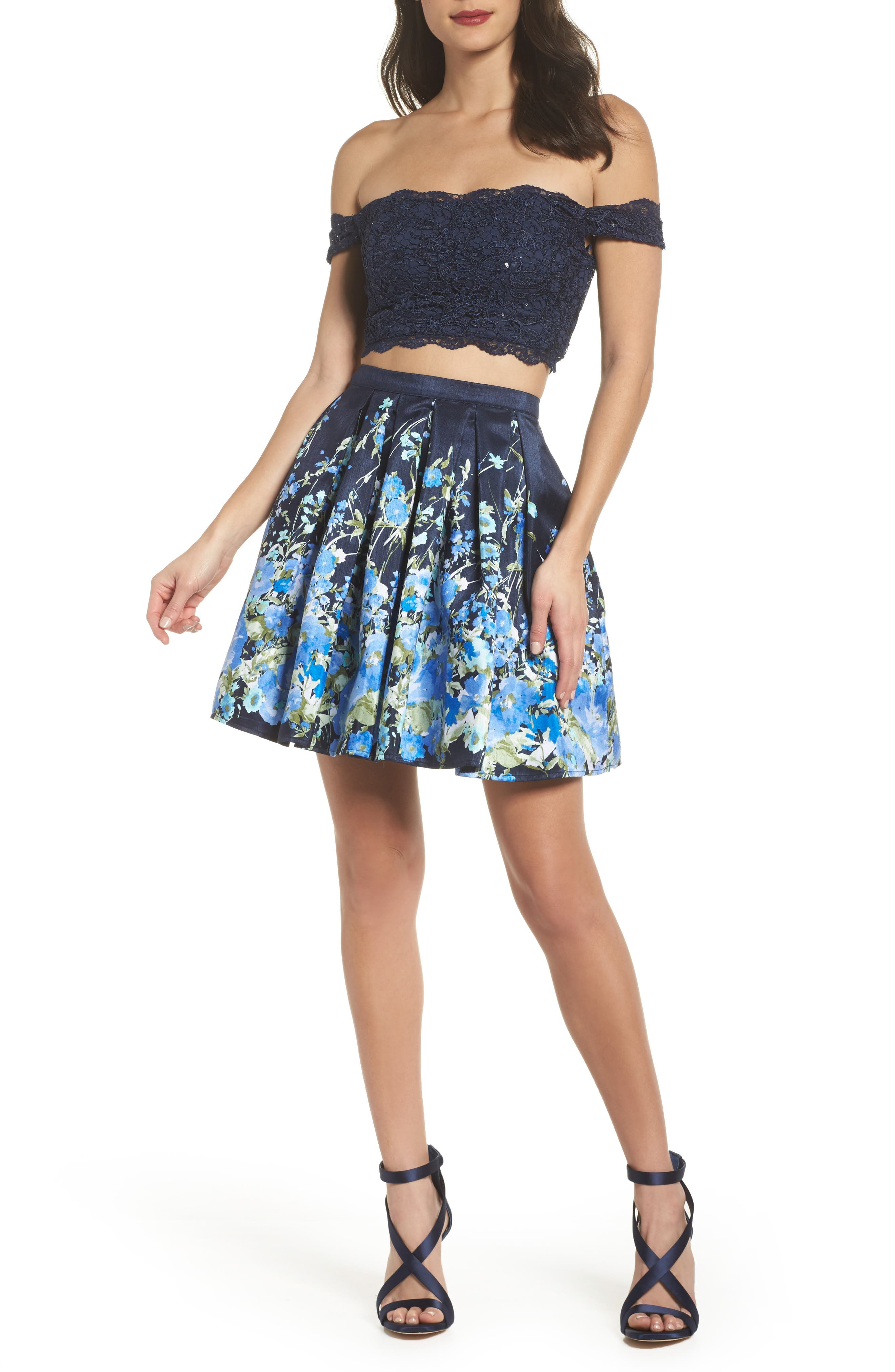Off the Shoulder Two-Piece Dress,                             Main thumbnail 1, color,                             Navy/ Green
