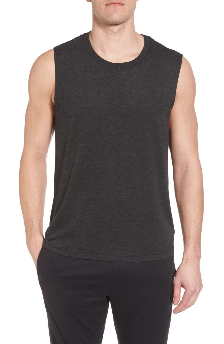 Alo Yoga The Triumph Sleeveless T-shirt In Charcoal Black Triblend