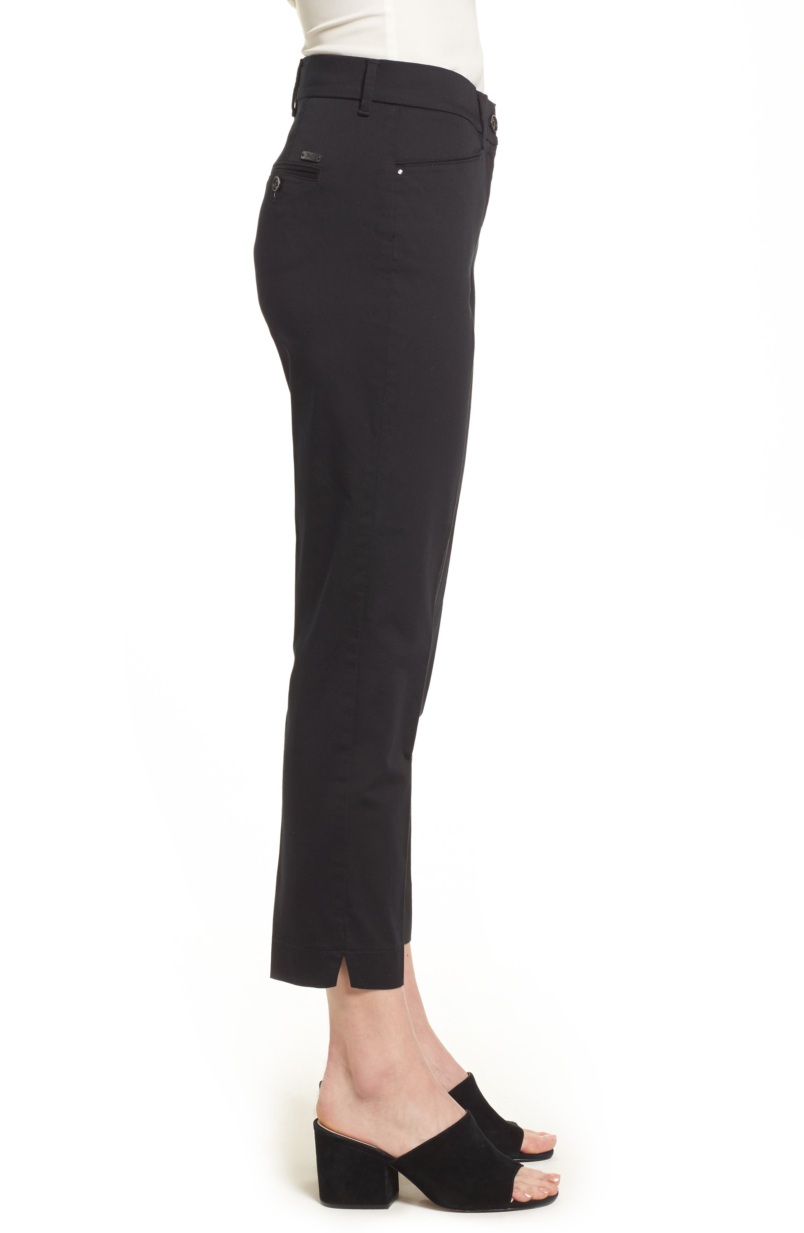 Straight Leg Cropped Trousers,                             Alternate thumbnail 3, color,                             Black