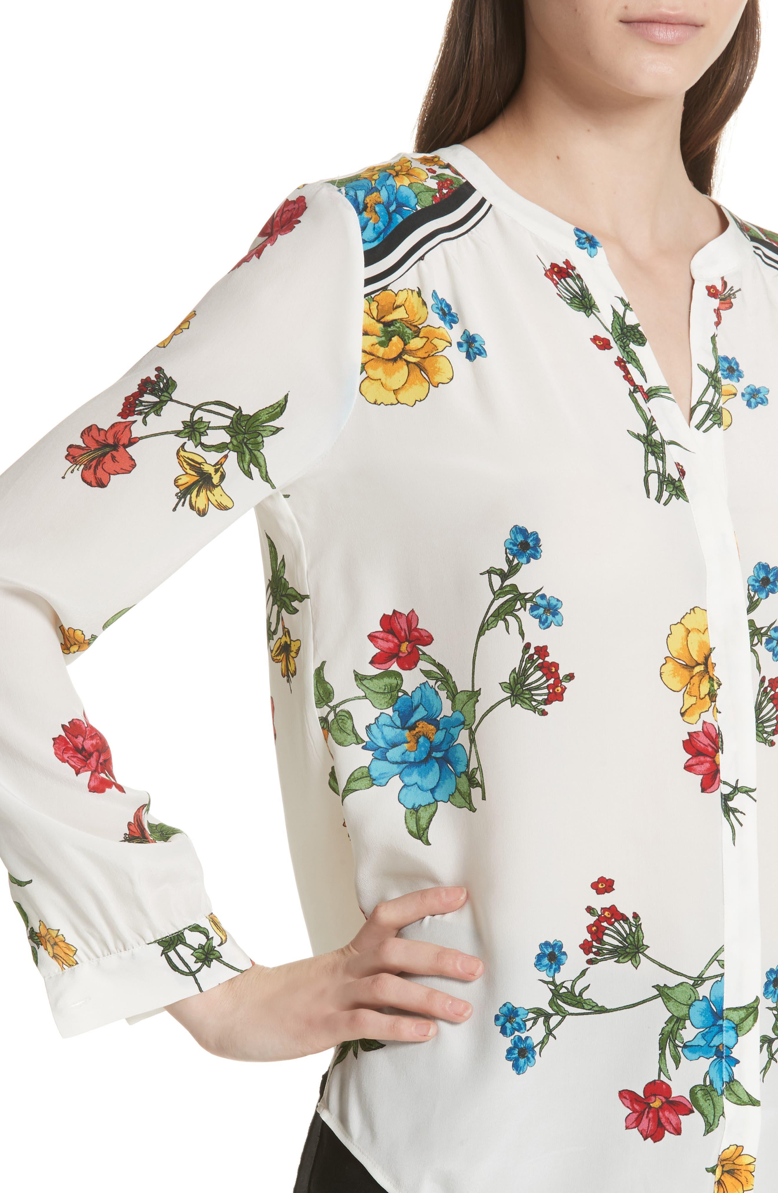 Yaritza B Floral Silk Top,                             Alternate thumbnail 4, color,                             Porcelain