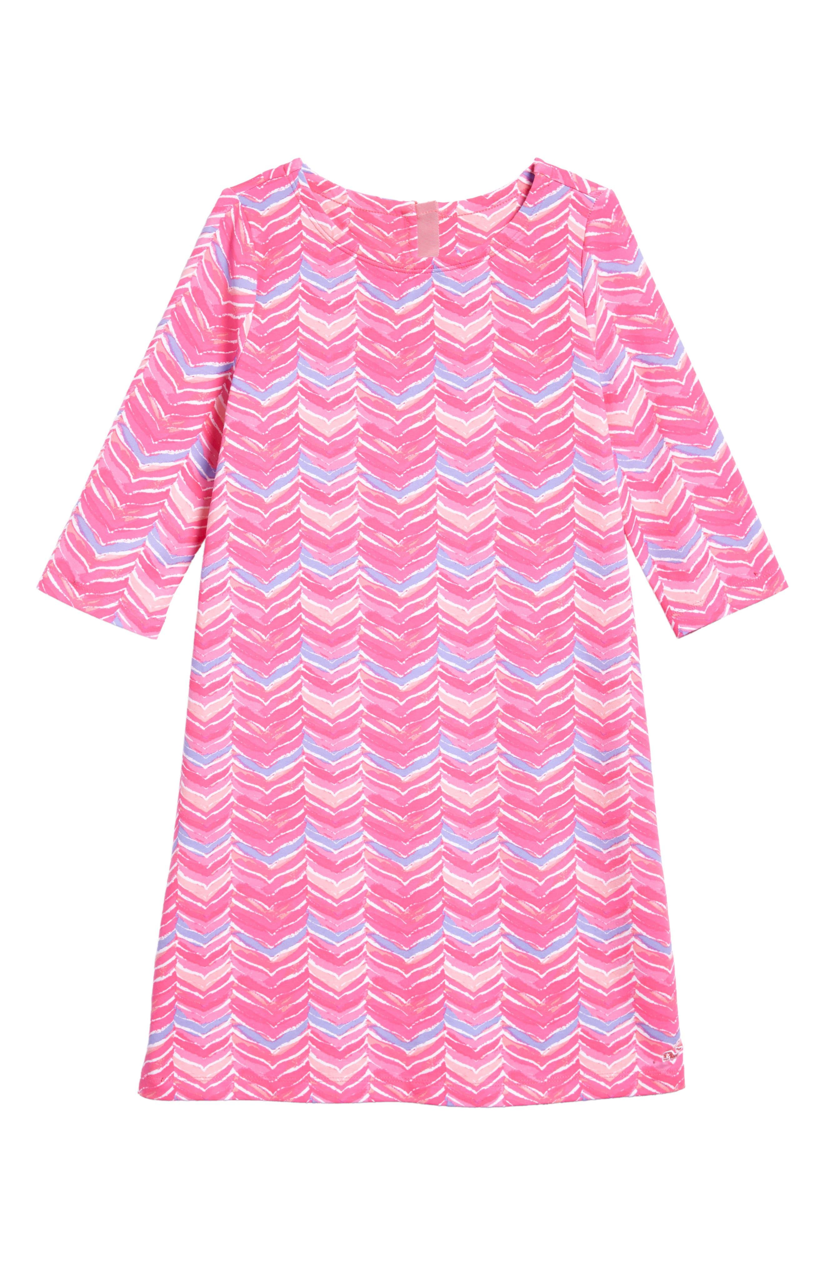 Watercolor Whale Tail Print Dress,                             Main thumbnail 1, color,                             Pink Sherbet