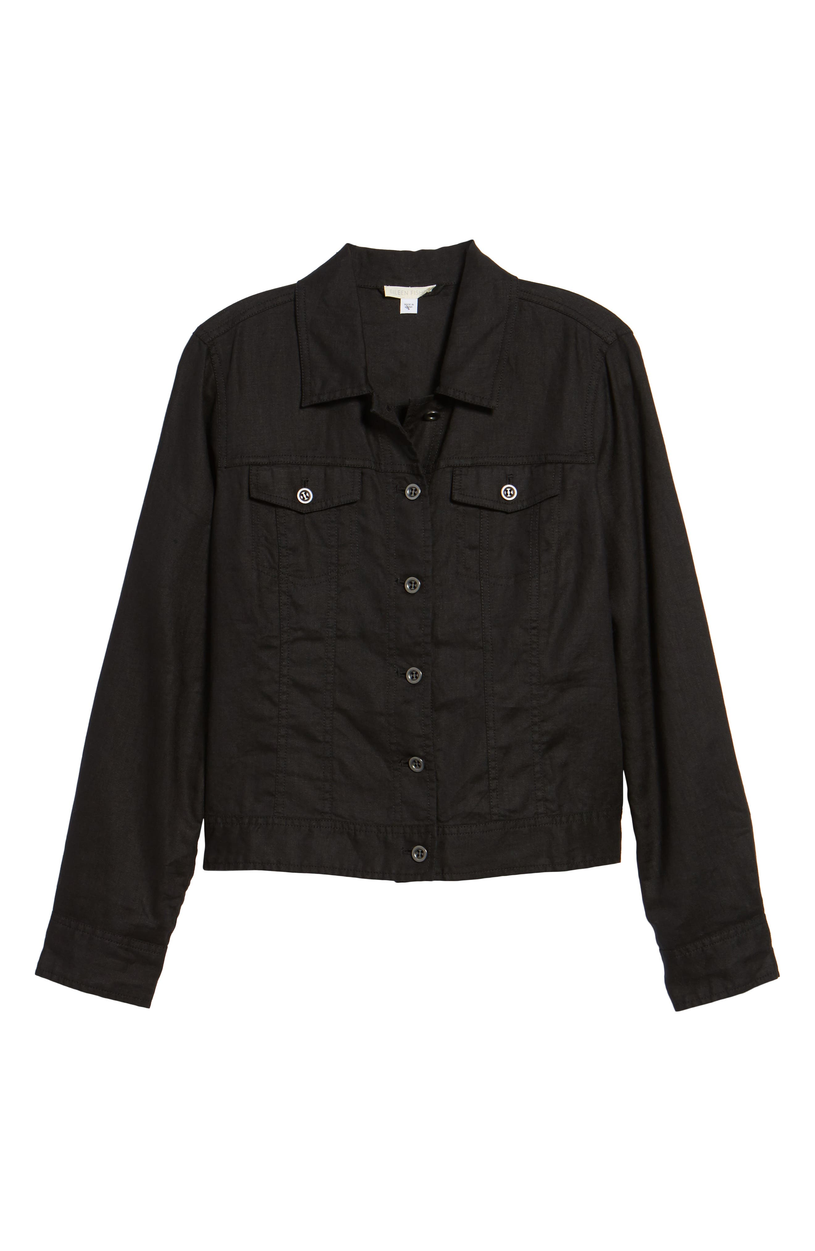 Crop Organic Linen Jacket,                             Alternate thumbnail 6, color,                             Black