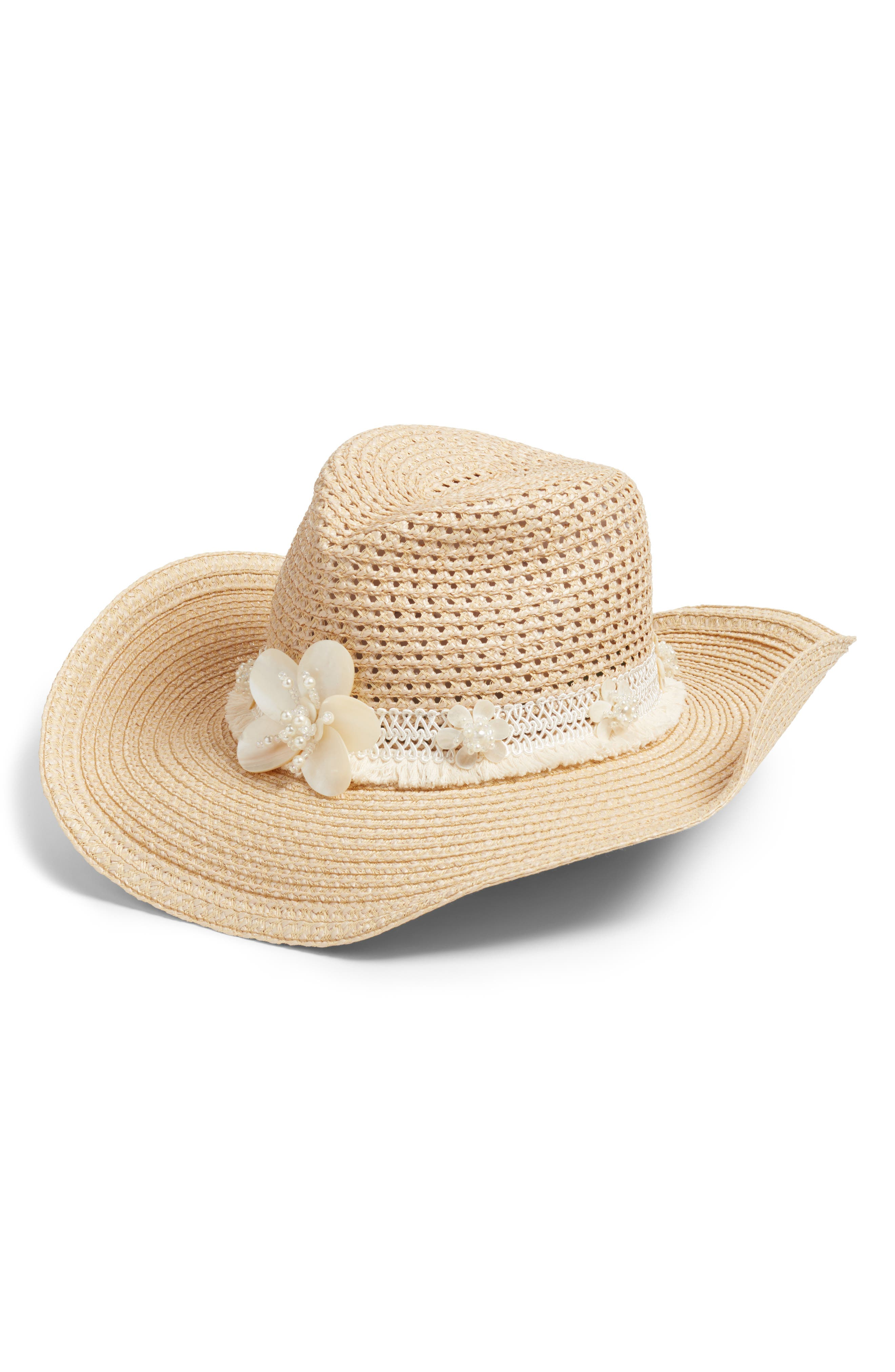 St. Tropez Squishee<sup>®</sup> Western Hat with Mother-of-Pearl Trim,                             Main thumbnail 1, color,                             Flax/ White