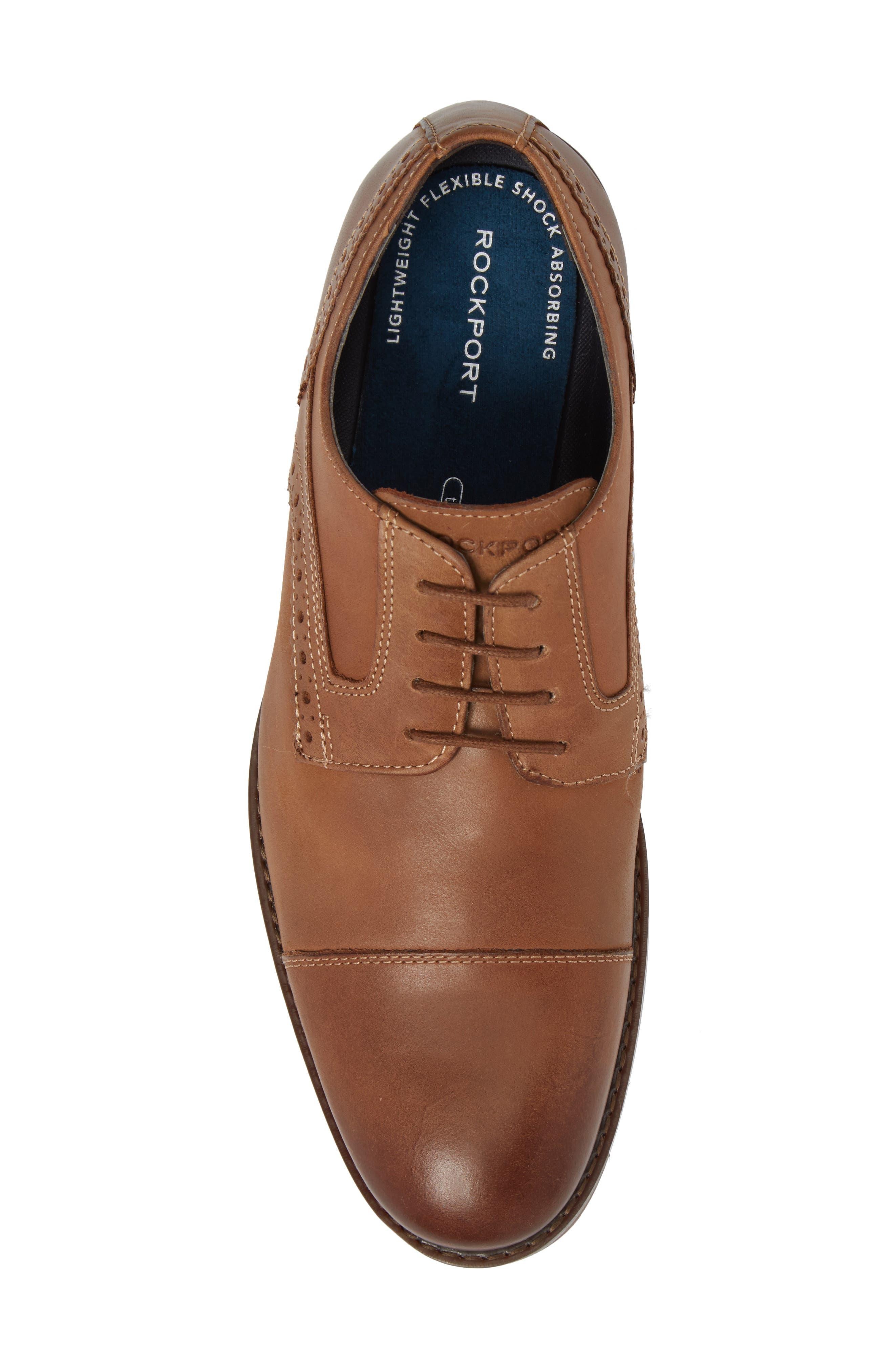 Wynston Cap Toe Blucher,                             Alternate thumbnail 5, color,                             Tobacco Leather