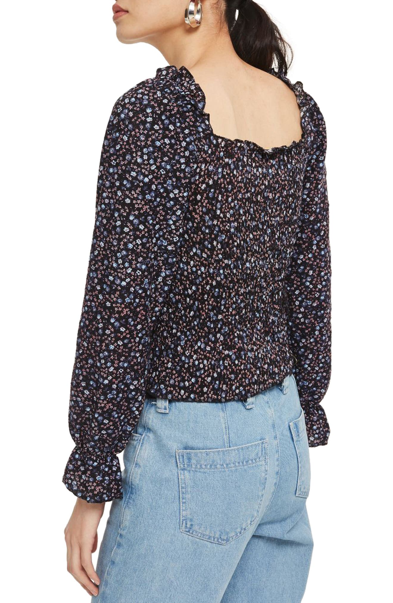 Shirred Ditsy Top,                             Alternate thumbnail 2, color,                             Navy Blue Multi