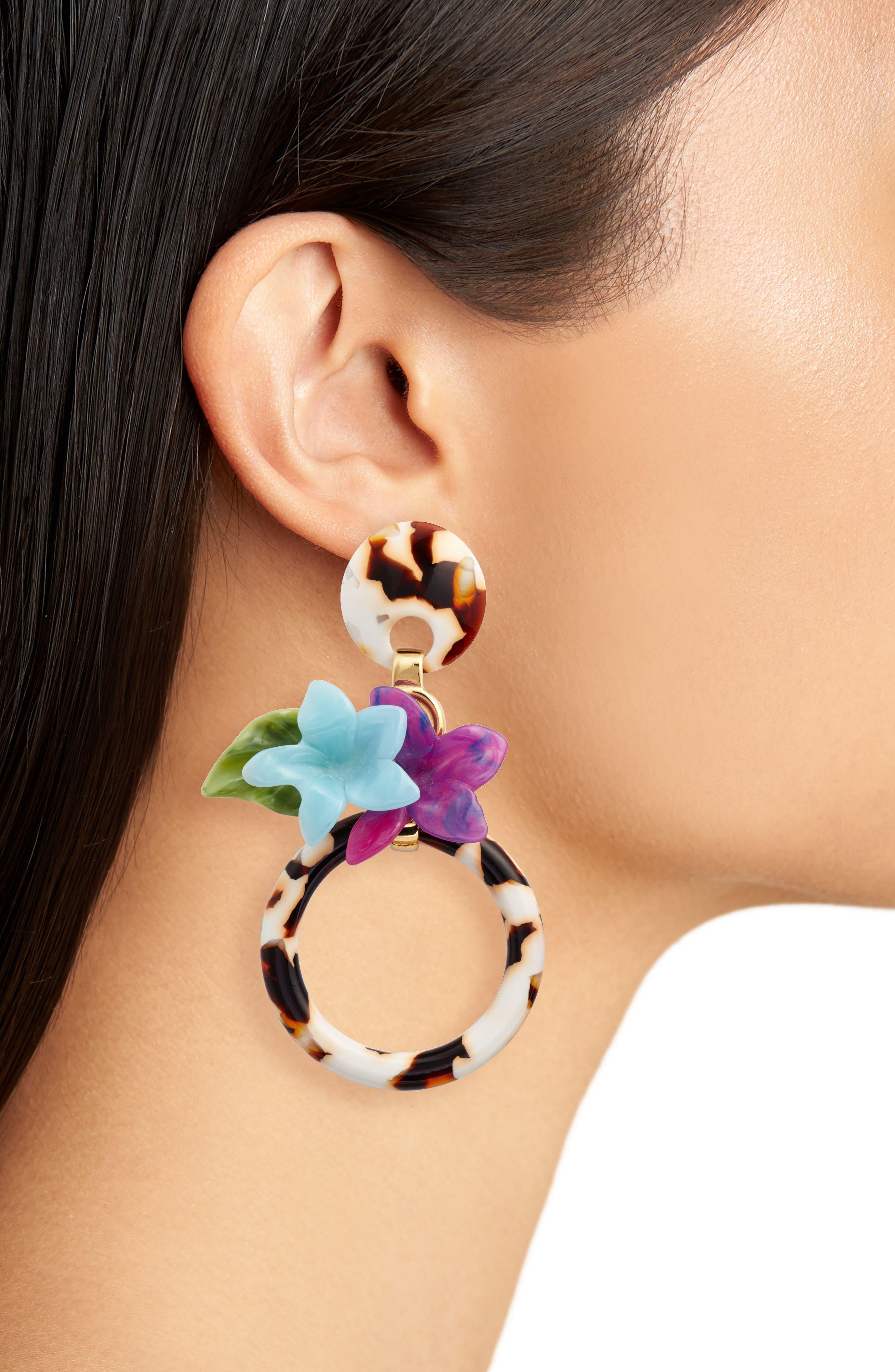 Hibiscus Hoop Earrings,                             Alternate thumbnail 2, color,                             Tortoise