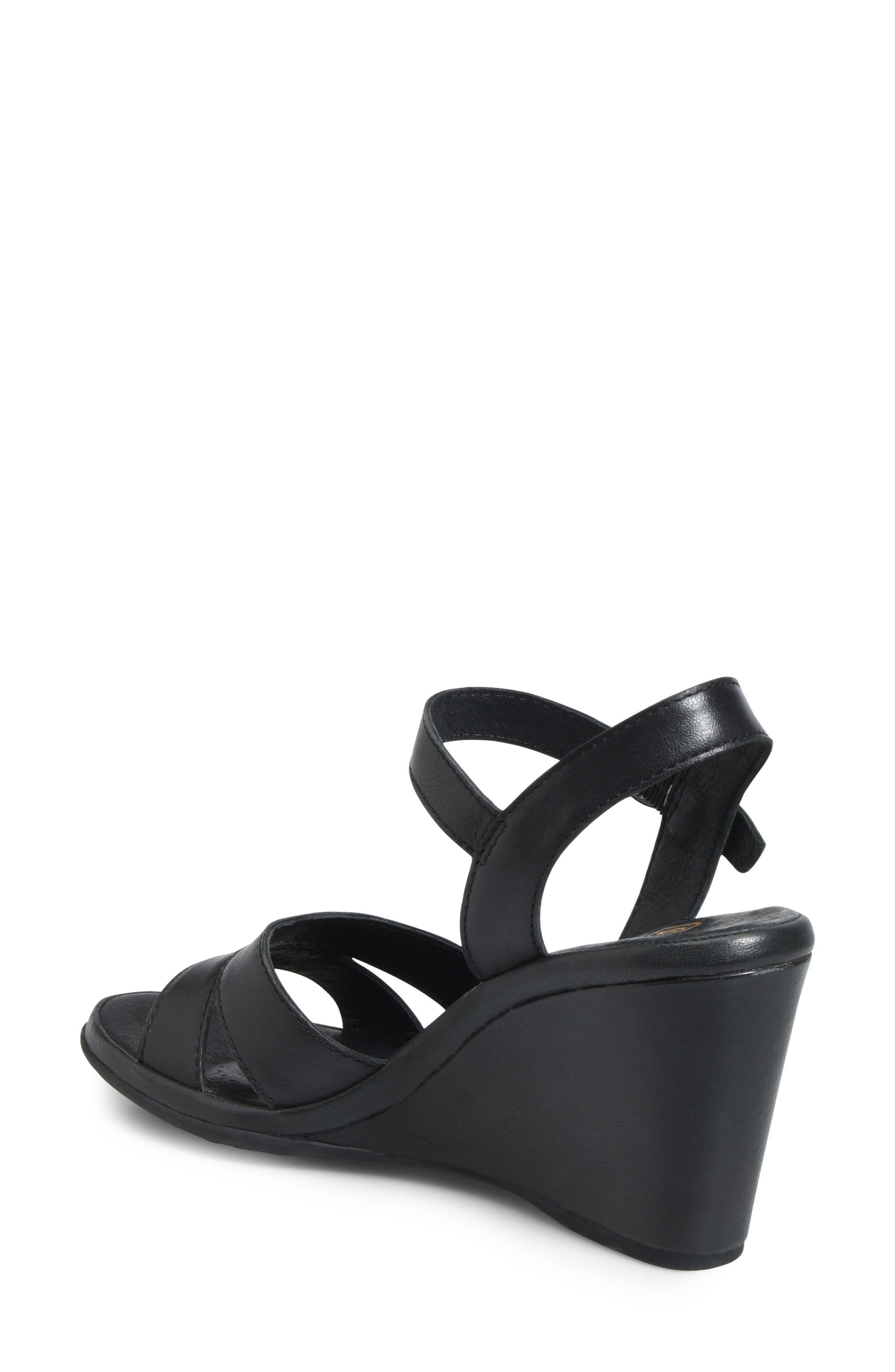 Hydro Wedge Sandal,                             Alternate thumbnail 2, color,                             Black Leather