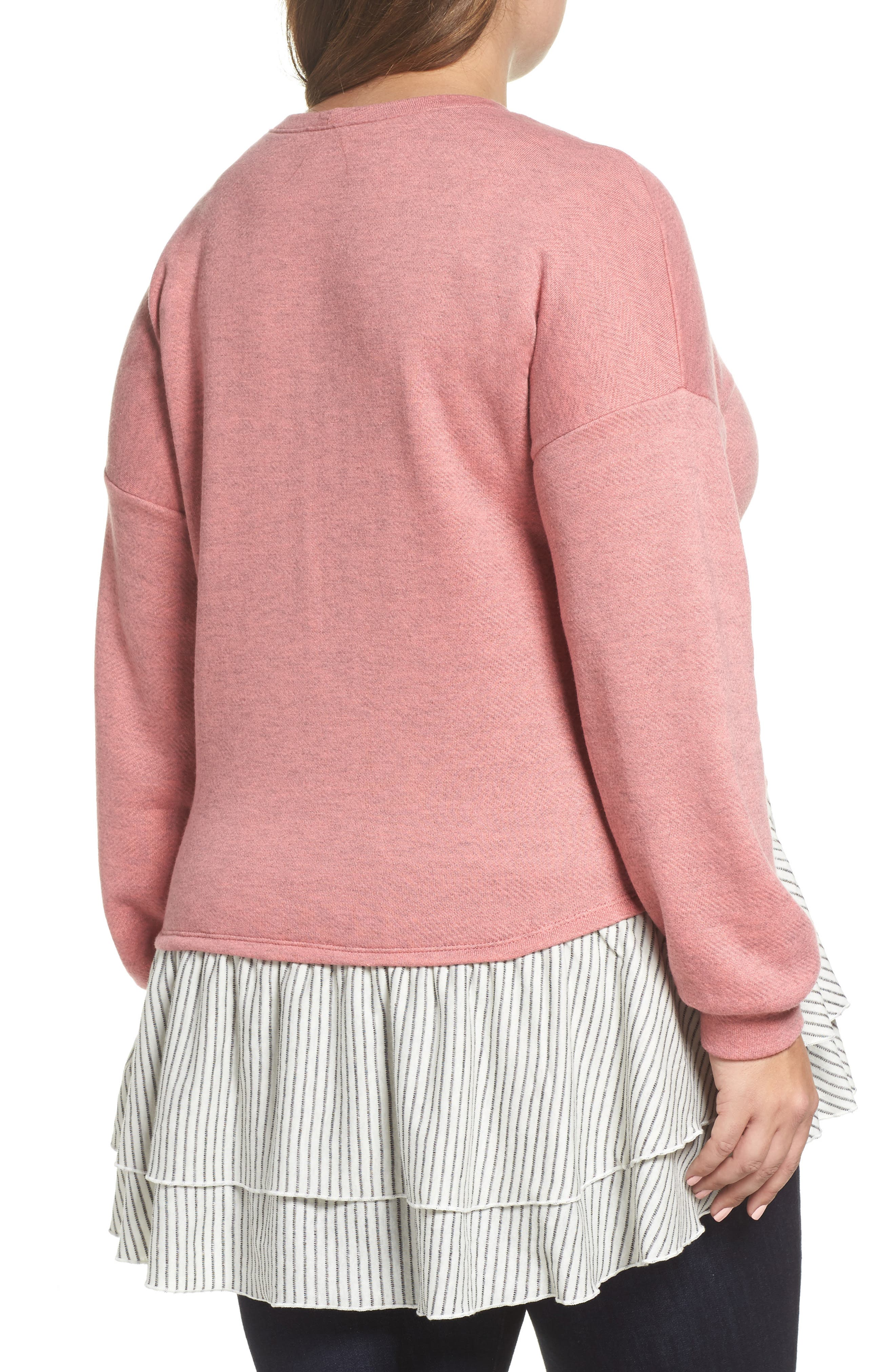 Layered Look Sweatshirt,                             Alternate thumbnail 2, color,                             Coral- Navy Stripe Colorblock