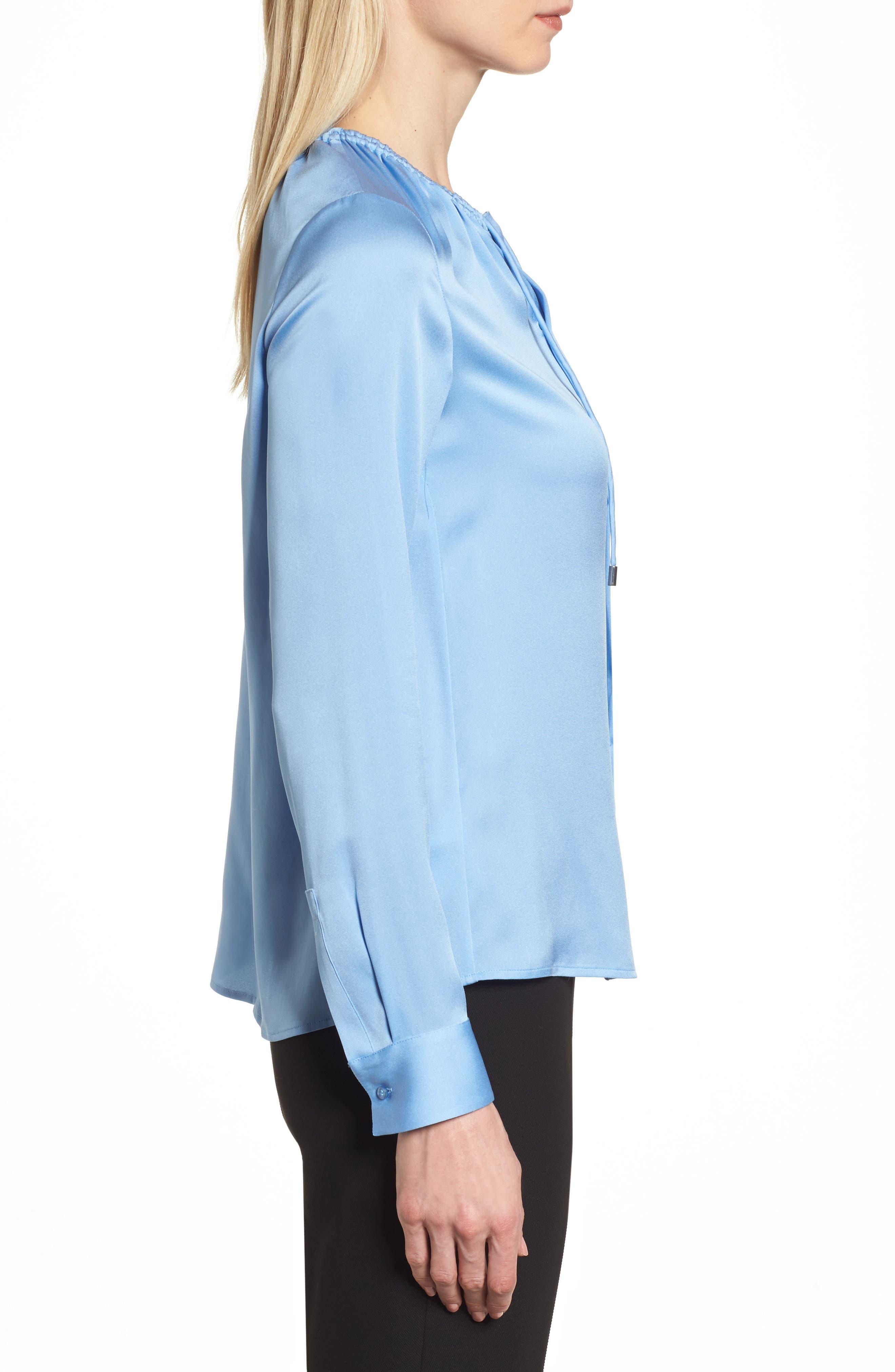 Banorana Stretch Silk Blouse,                             Alternate thumbnail 3, color,                             Blue Sky