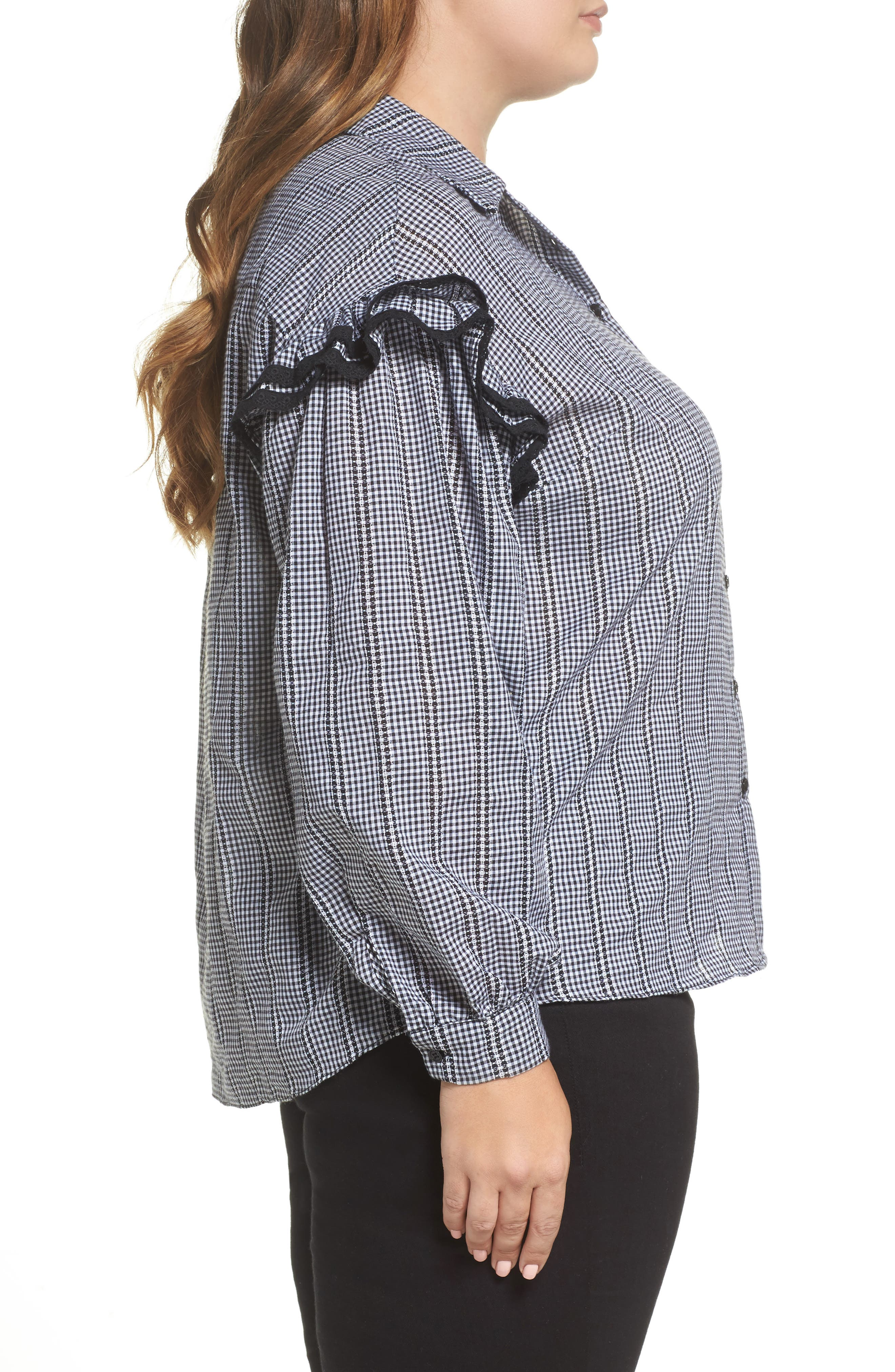 Gingham Ruffle Sleeve Shirt,                             Alternate thumbnail 2, color,                             Multi