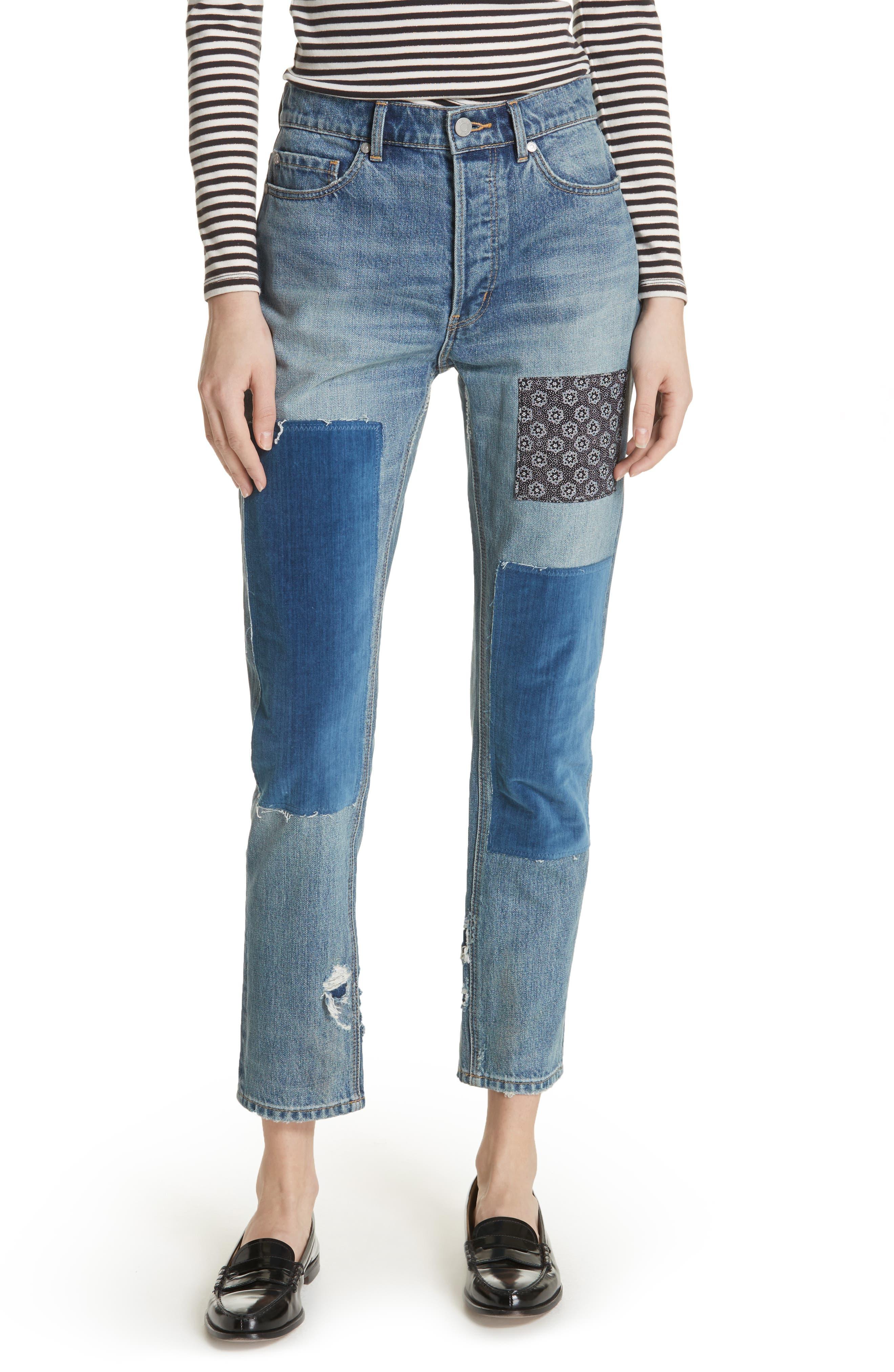 Patched Velvet & Rigid Denim Jeans,                         Main,                         color, Blueprint Patch Wash