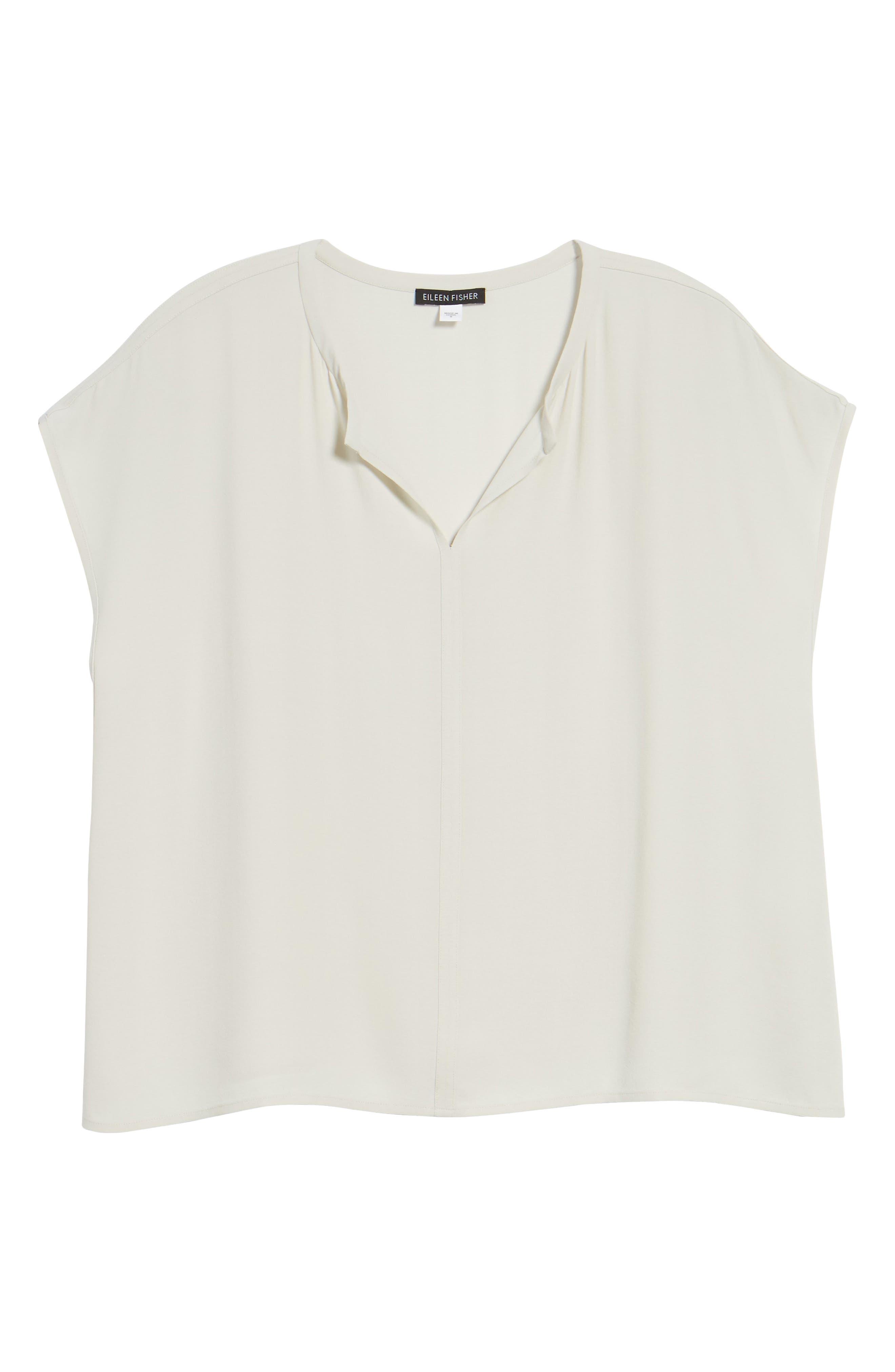 Split Neck Silk Shirt,                             Alternate thumbnail 7, color,                             Bone
