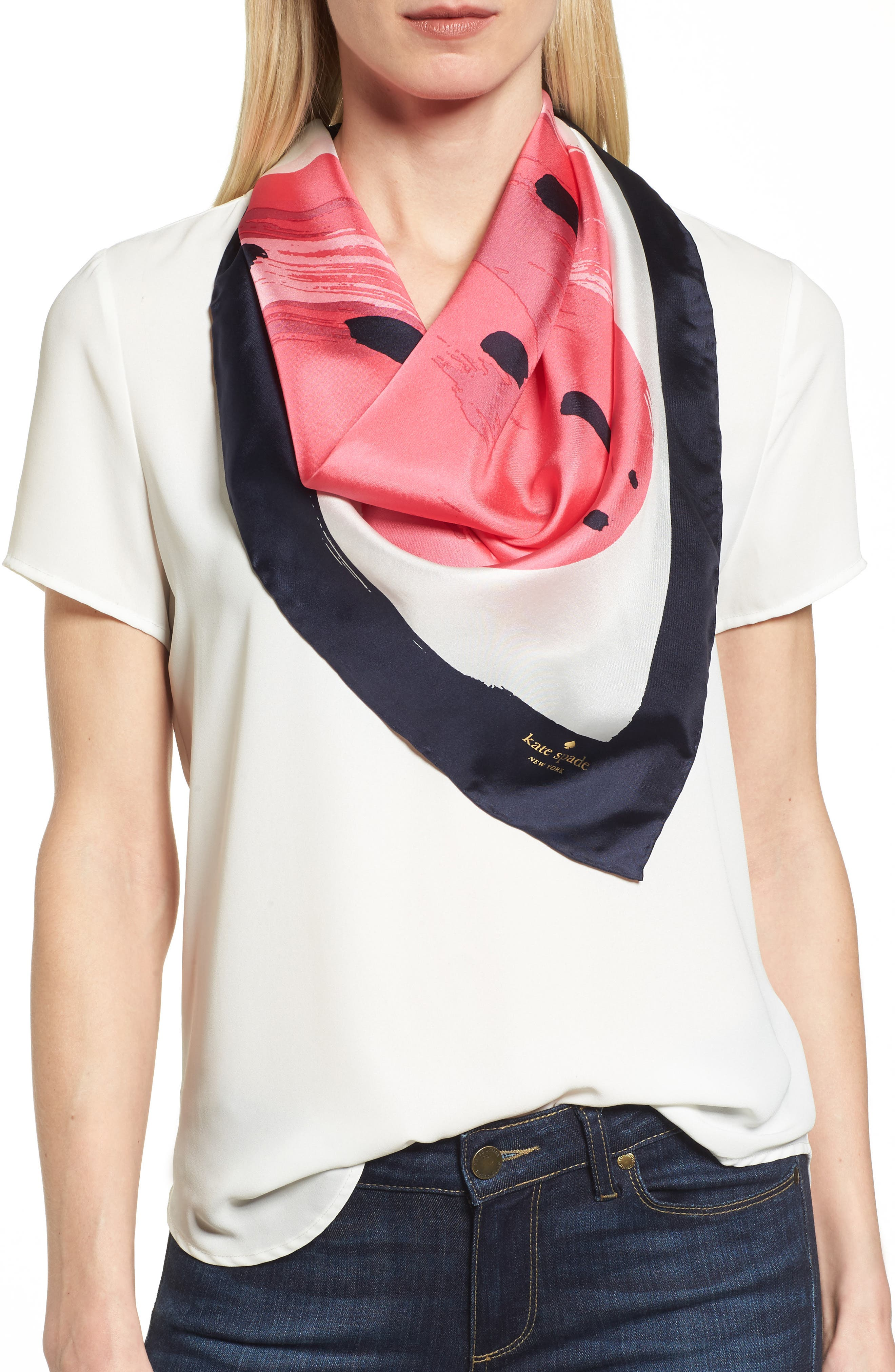 strawberry square silk scarf,                         Main,                         color, Cream